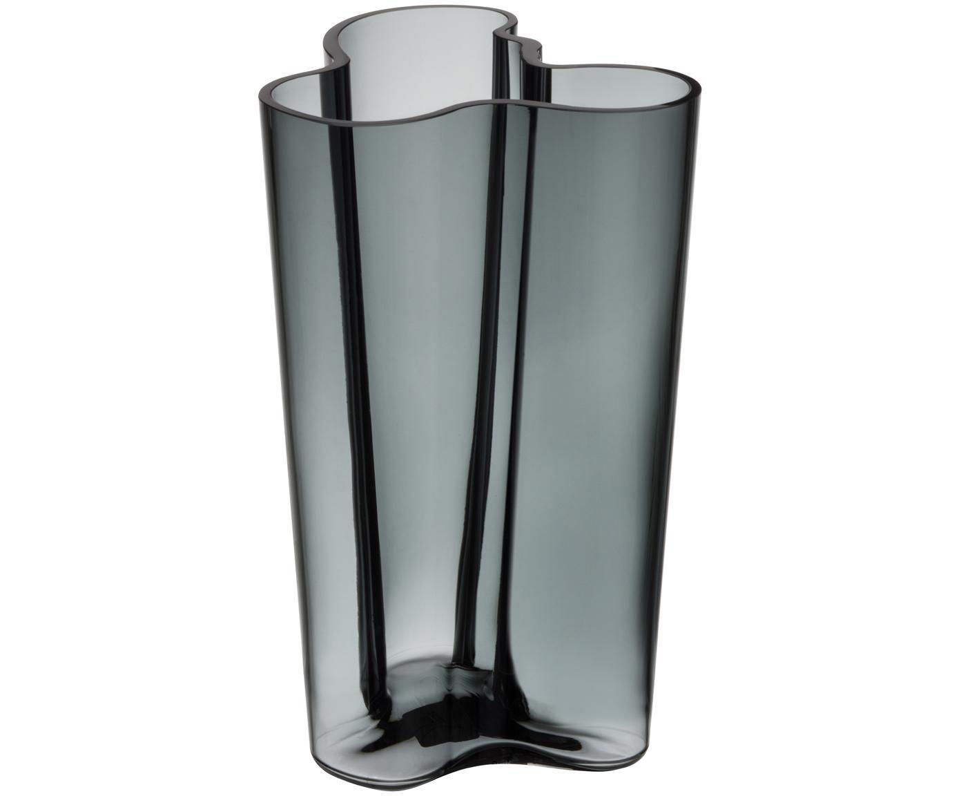 Jarrón de diseño Alvar Aalto, Vidrio, Gris oscuro, An 17 x Al 25 cm