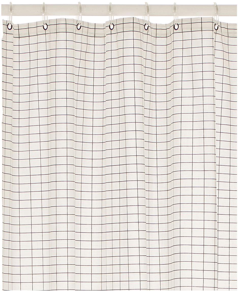 Smal douchegordijn Tile van katoenen mix., Oogjes: vernikkeld edelstaal, Zwart, wit, 150 x 200 cm