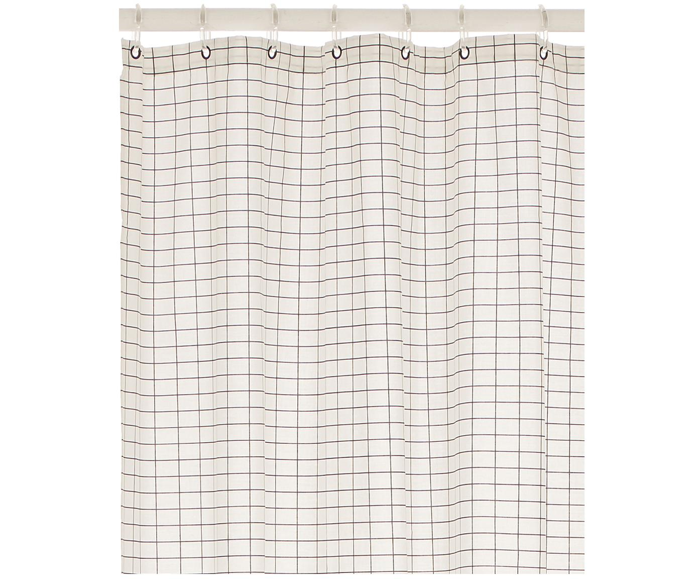 Schmaler Duschvorhang Tile aus Baumwoll-Mix, Schwarz, Weiss, 150 x 200 cm