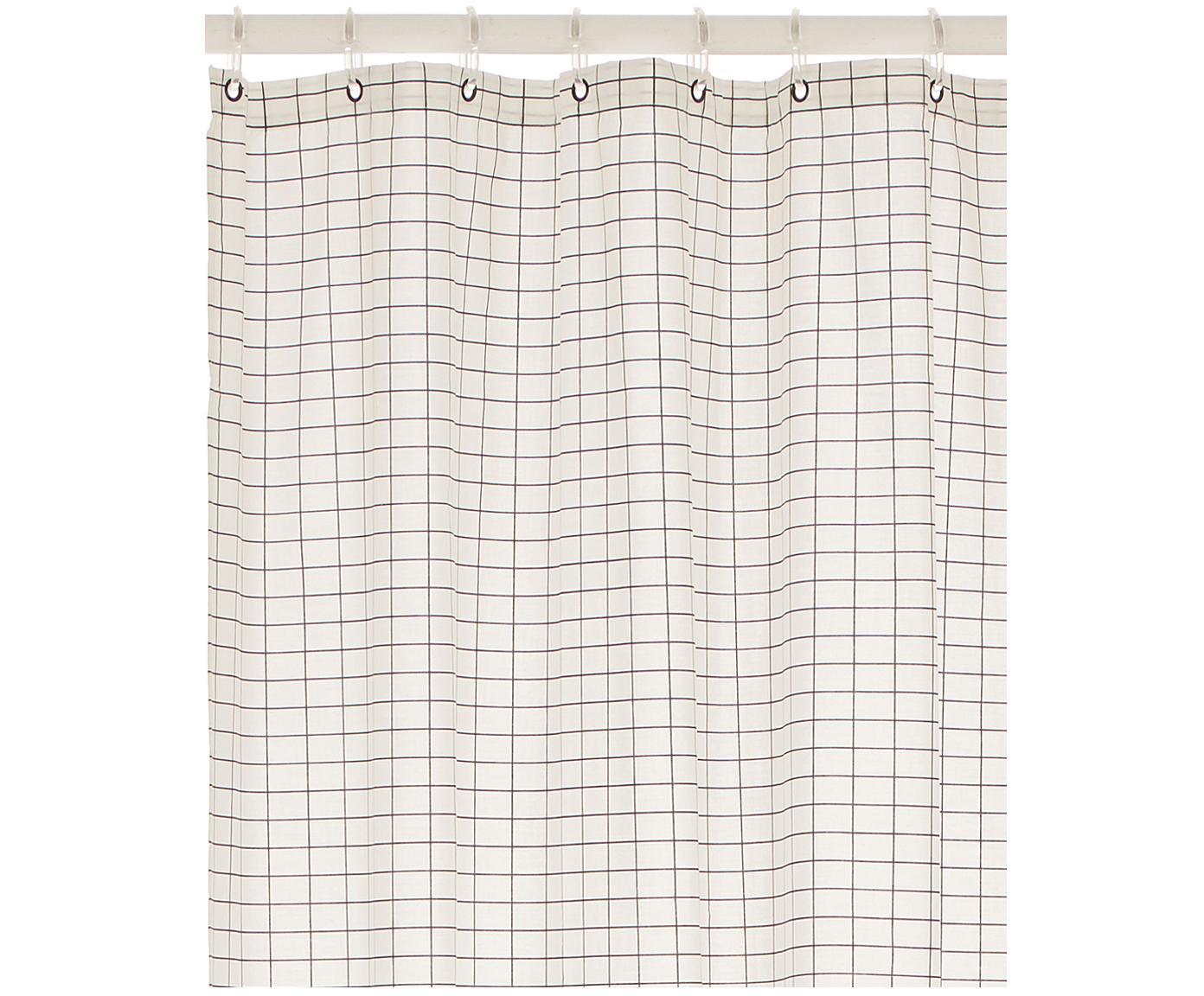 Wąska zasłona prysznicowa z mieszanki bawełny Tile, Czarny, biały, S 150 x D 200 cm