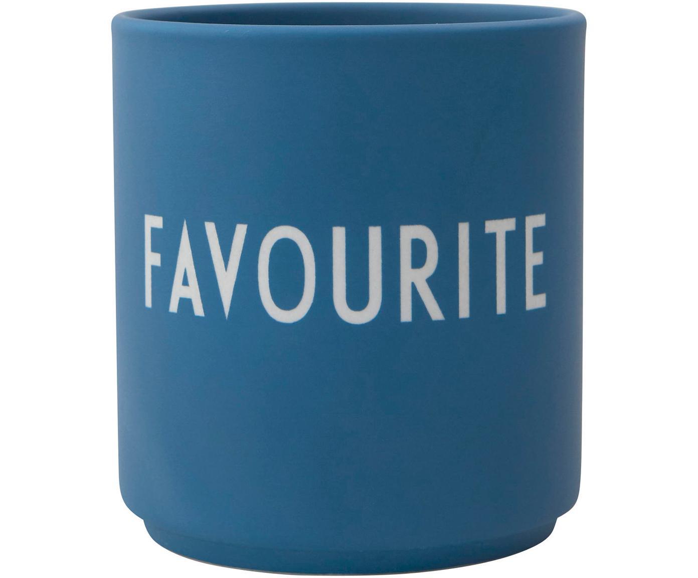 Design Becher FAVOURITE in Blau mit Schriftzug, Fine Bone China (Porzellan), Blau, Weiß, Ø 8 x H 9 cm
