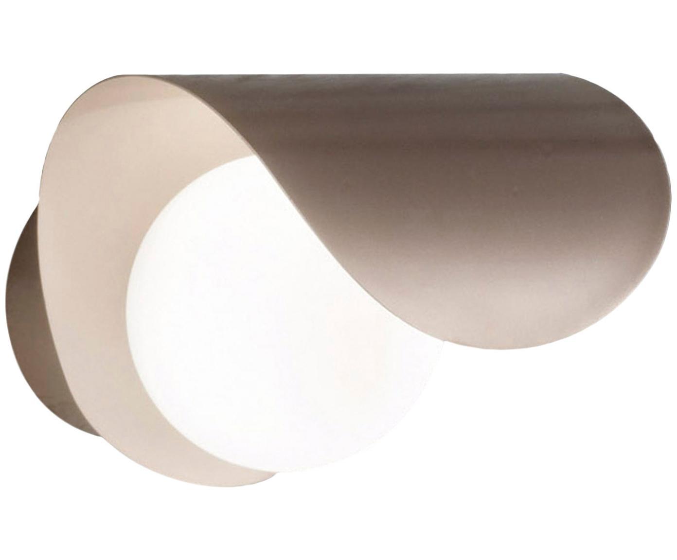 Applique Adria, Paralume: vetro opalino, Dorato, bianco opalino, Larg. 16 x Alt. 18 cm
