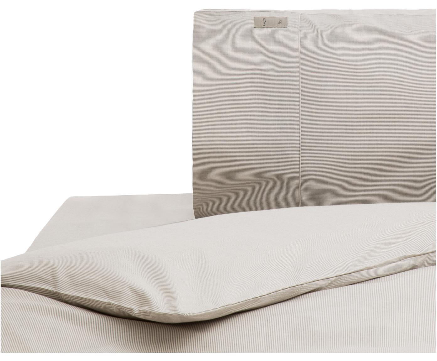 Completo copripiumino in percalle Stripes, Grigio, grigio chiaro, 155 x 260 cm