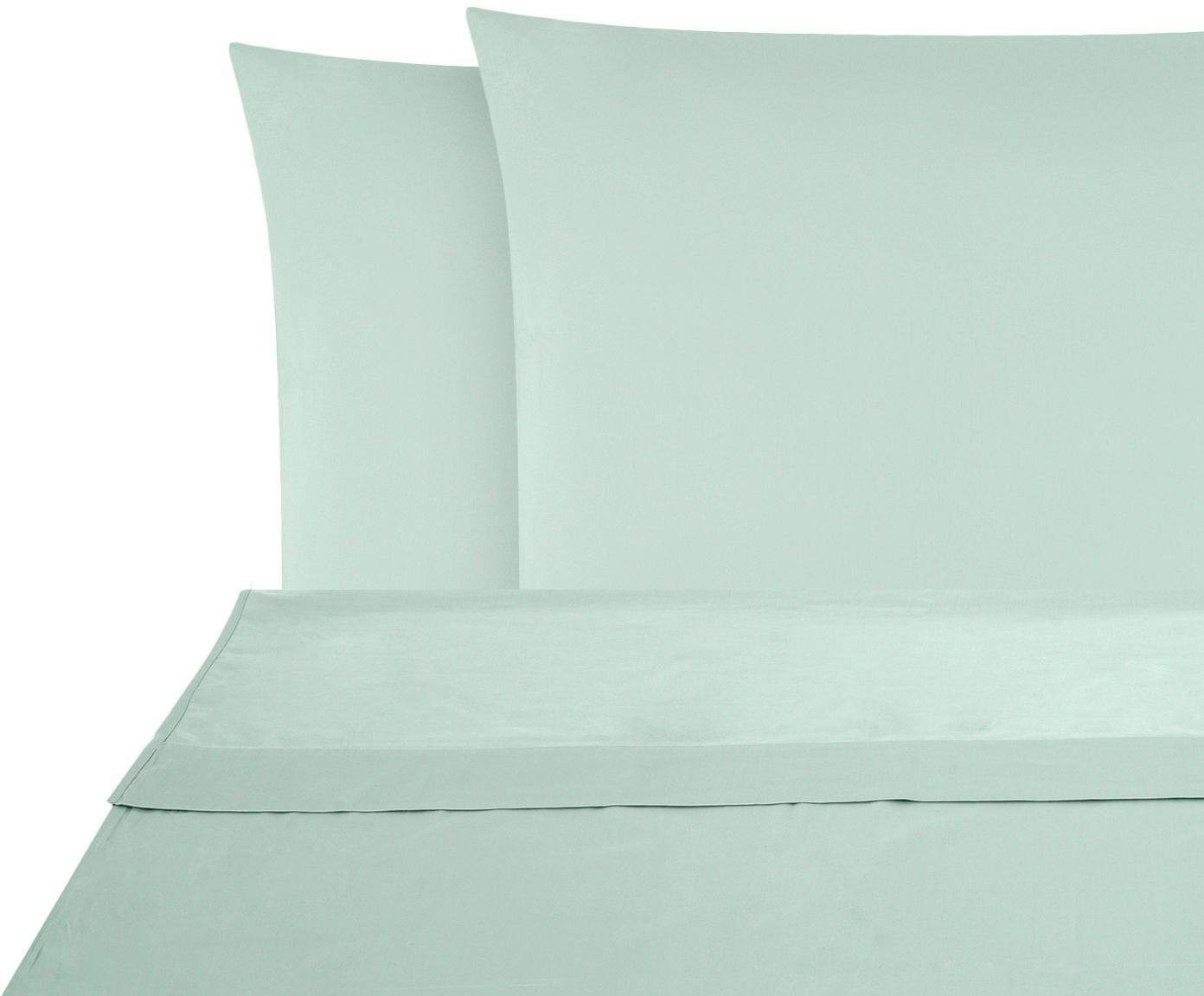 Set lenzuola in raso di cotone Comfort 2 pz, Tessuto: raso Densità del filo 250, Verde salvia, 240 x 300 cm