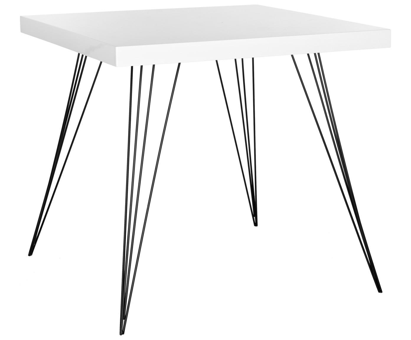 Kleine vierkante eettafel Wolcott met metalen poten, Tafelblad: MDF, Poten: gelakt ijzer, Wit, zwart, B 80 x D 80 cm