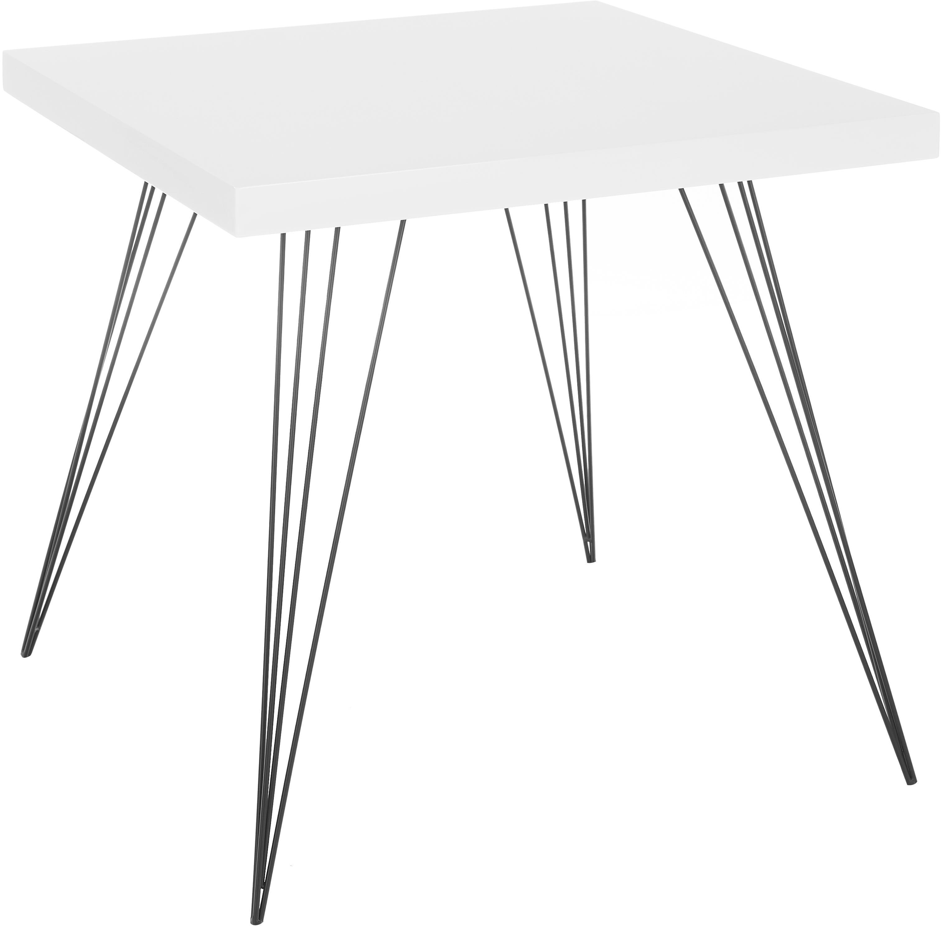 Mały stół do jadalni z nogami z metalu Wolcott, Blat: płyta pilśniowa o średnie, Nogi: żeliwo lakierowane, Biały, czarny, S 80 x G 80 cm