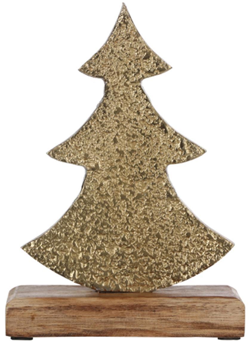 Deko-Objekt Christmas Tree, Sockel: Holz, Messingfarben, 13 x 21 cm