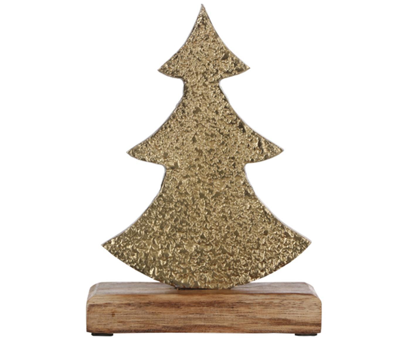 Decoratief object Christmas Tree, Voetstuk: hout, Messingkleurig, 13 x 21 cm
