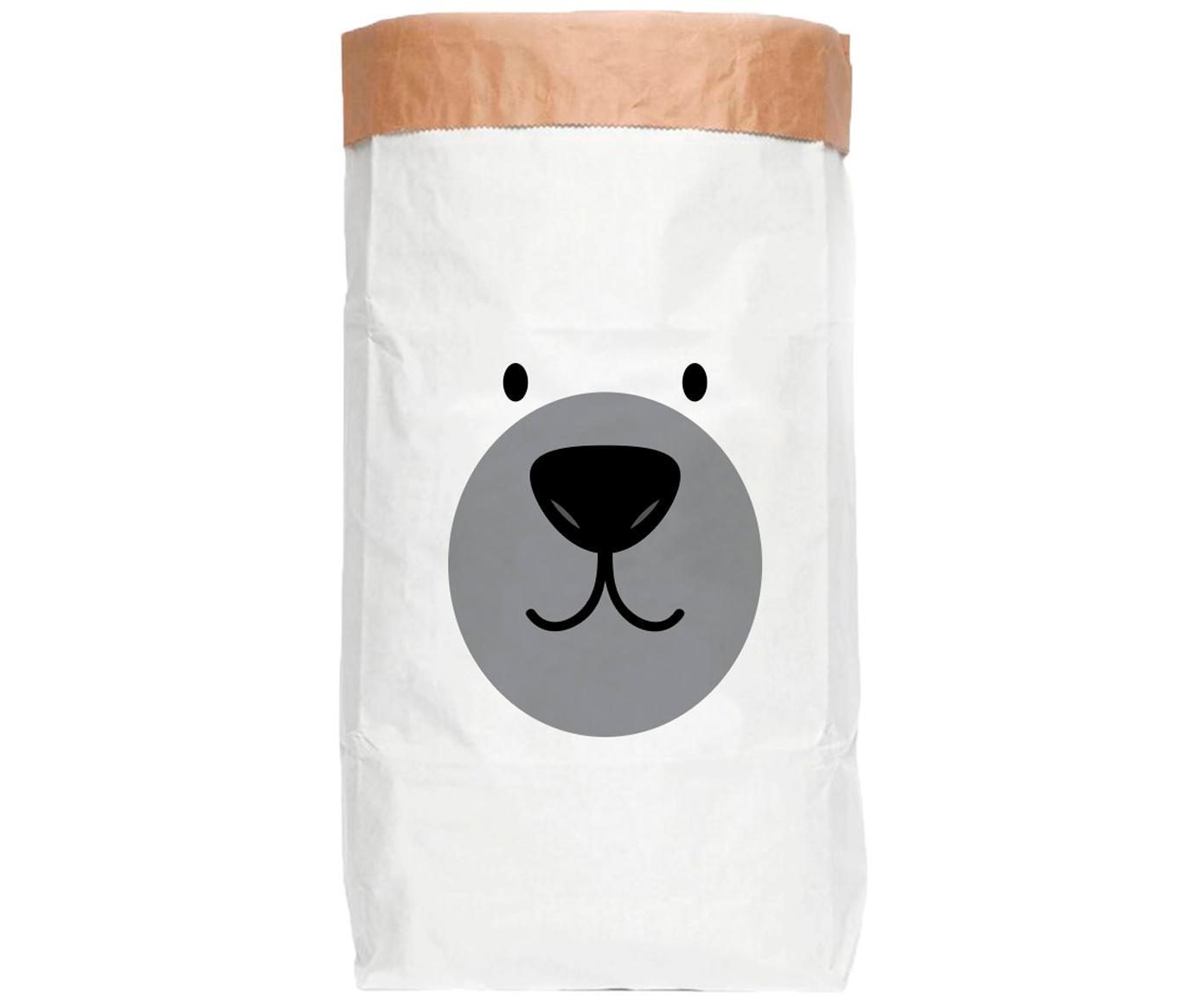 Bolsa de almacenaje Bear, Papel reciclado, Blanco, negro, gris, An 60 x Al 90 cm