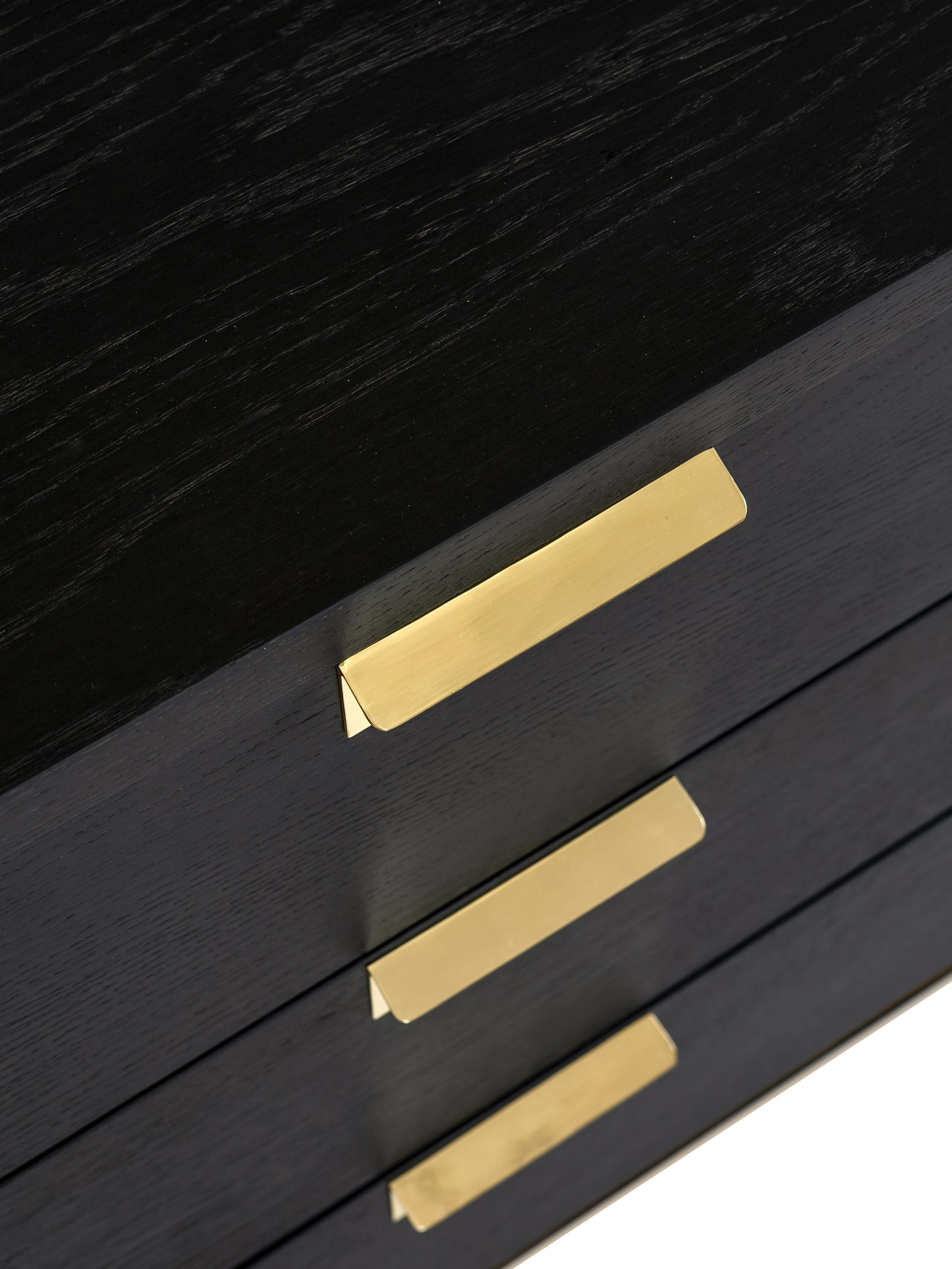 Schubladenkommode Pimlico aus Eichenholz, Dunkelbraun, Messing, 91 x 75 cm