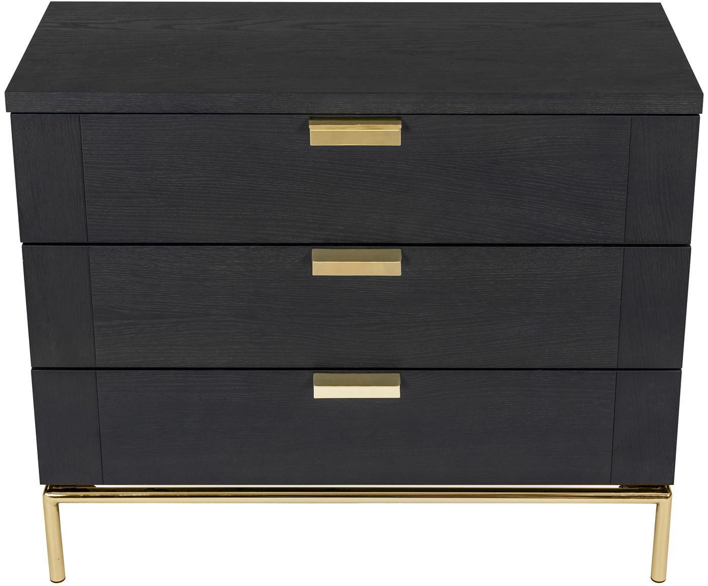 Szafka z szufladami z drewna dębowego Pimlico, Ciemny brązowy, mosiądz, S 91 x W 75 cm