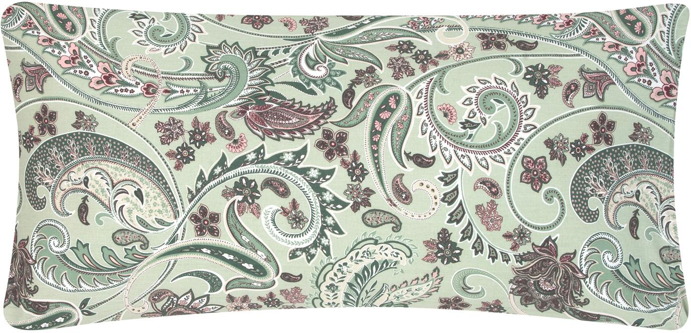 Baumwoll-Kissenbezüge Liana in Grün mit Paisley-Muster, 2 Stück, Webart: Renforcé Fadendichte 144 , Grün, Mehrfarbig, 40 x 80 cm