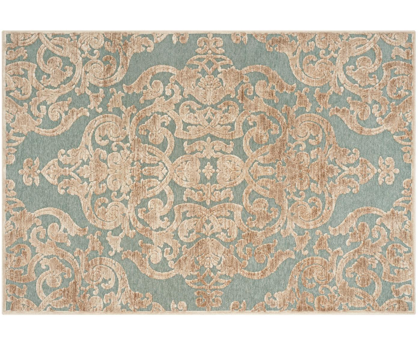 Vintage Viskoseteppich Marigot mit Hoch-Tief-Effekt, Flor: 100% Viskose, Aqua, Creme, B 120 x L 170 cm (Grösse S)