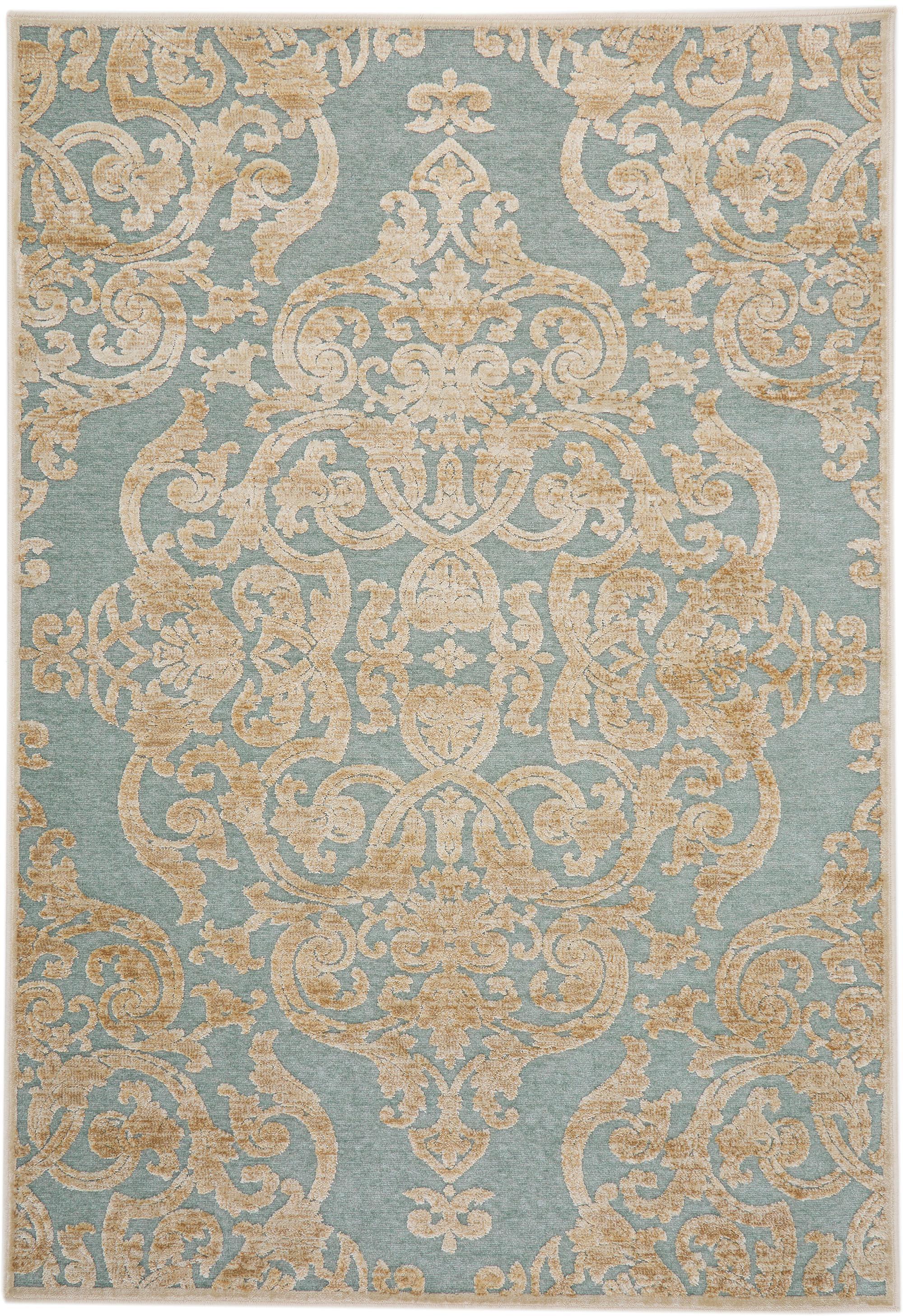 Alfombra Marigot, estilo vintage, Parte superior: 100%viscosa, Reverso: 100%viscosa, Azul claro, crema, An 120 x L 170 cm (Tamaño S)