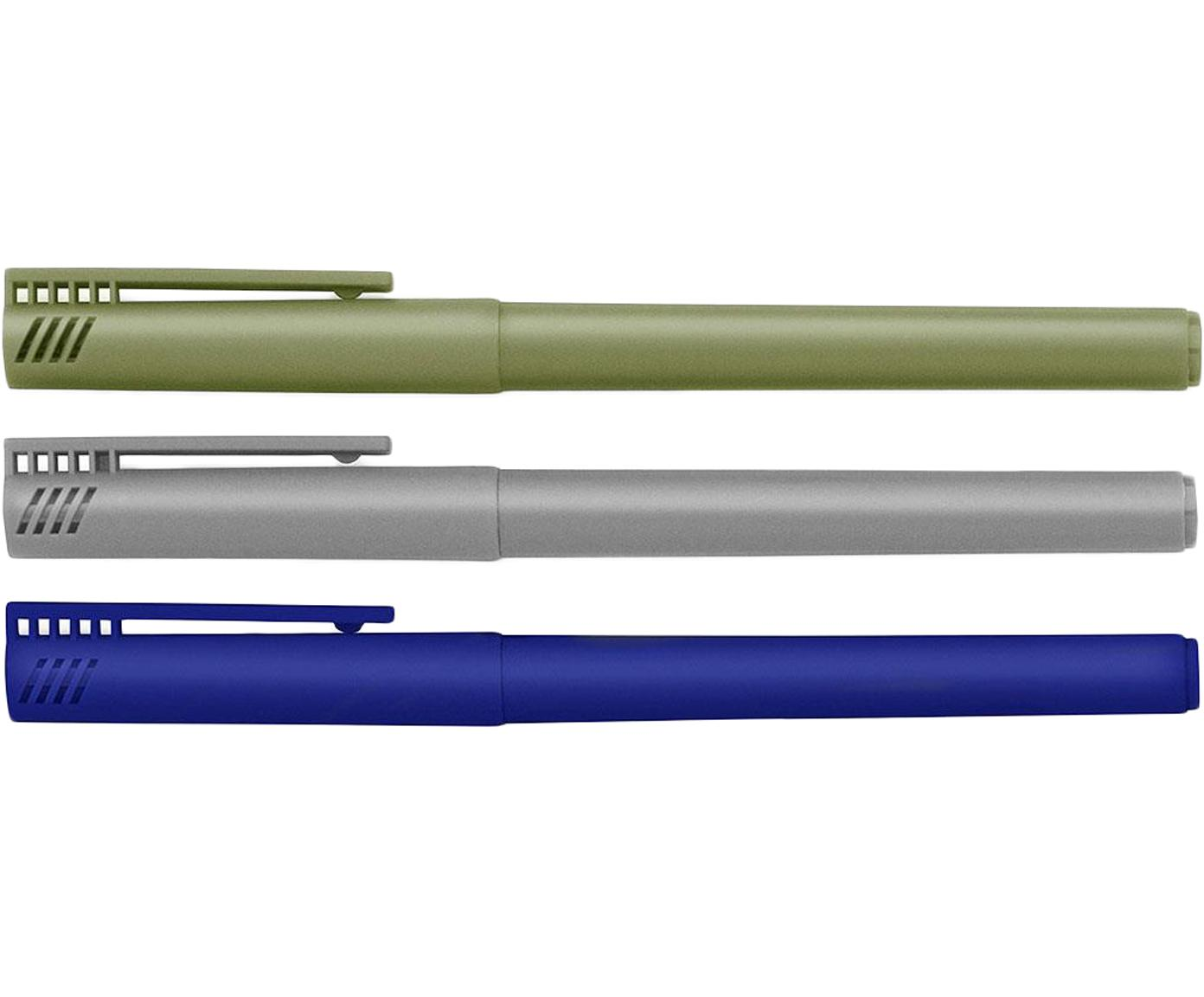 Fineliner-Set Mix, 3-tlg., Kunststoff, Blau, Grau, Grün, L 14 cm