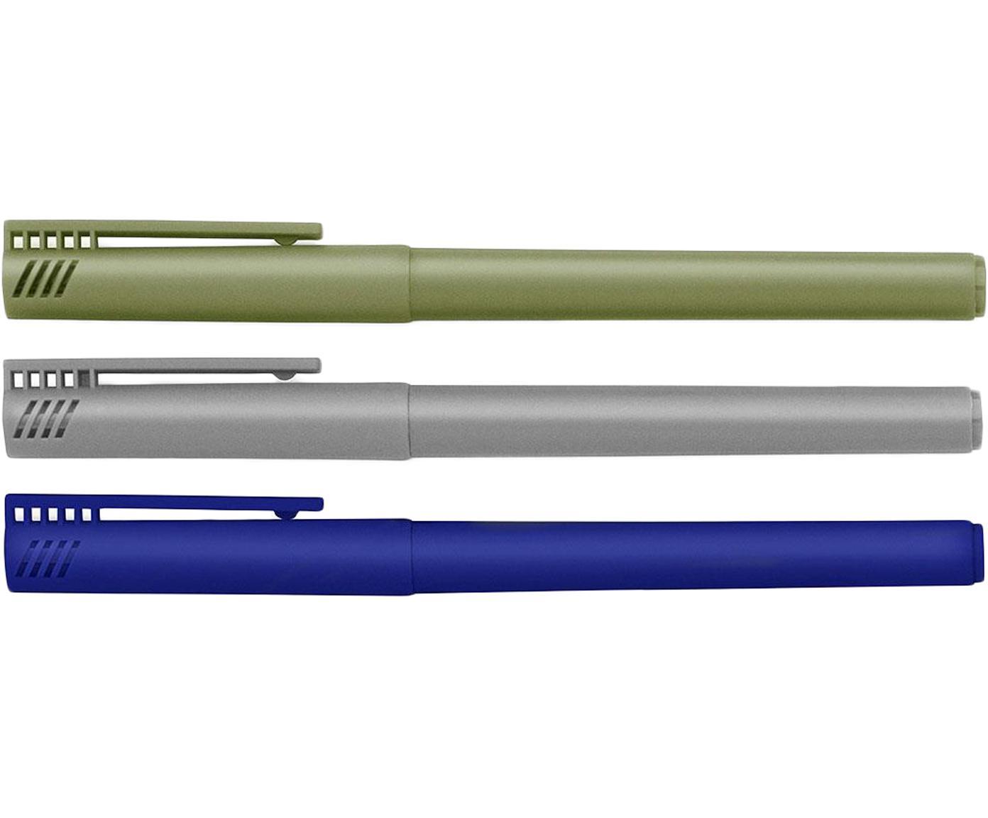 Komplet cienkopisów Mix, 3 elem., Tworzywo sztuczne, Niebieski, szary, zielony, D 14 cm