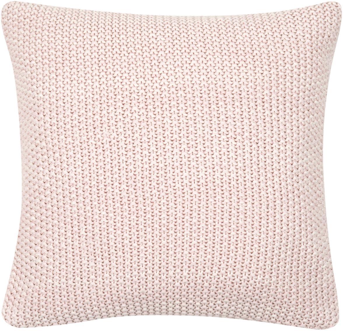 Federa arredo fatta a maglia Wilma, 100% cotone, Rosa, melangiato, Larg. 40 x Lung. 40 cm