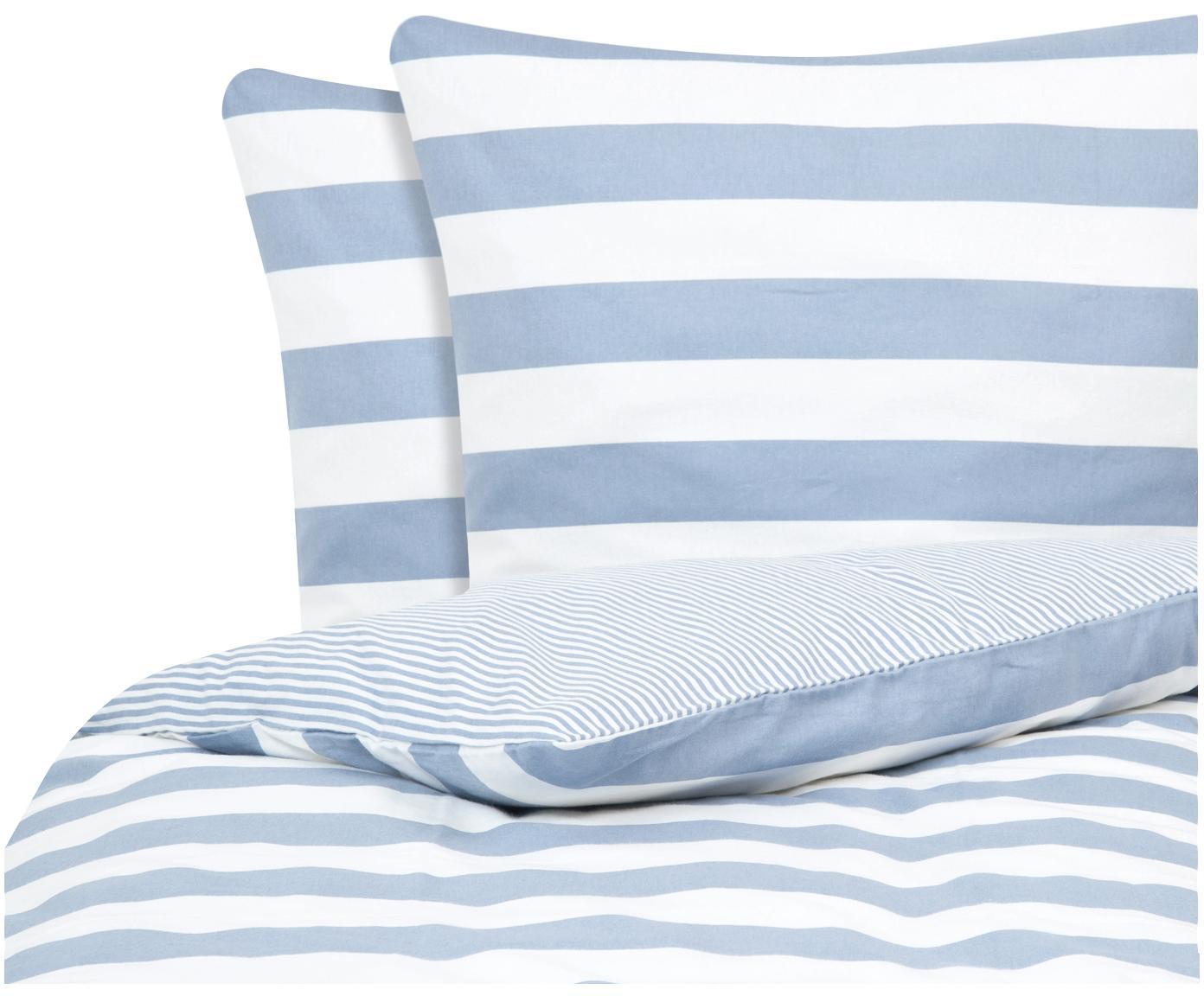 Flanell-Wendebettwäsche Dora, gestreift, Webart: Flanell Flanell ist ein s, Weiß, Hellblau, 240 x 220 cm + 2 Kissen 80 x 80 cm