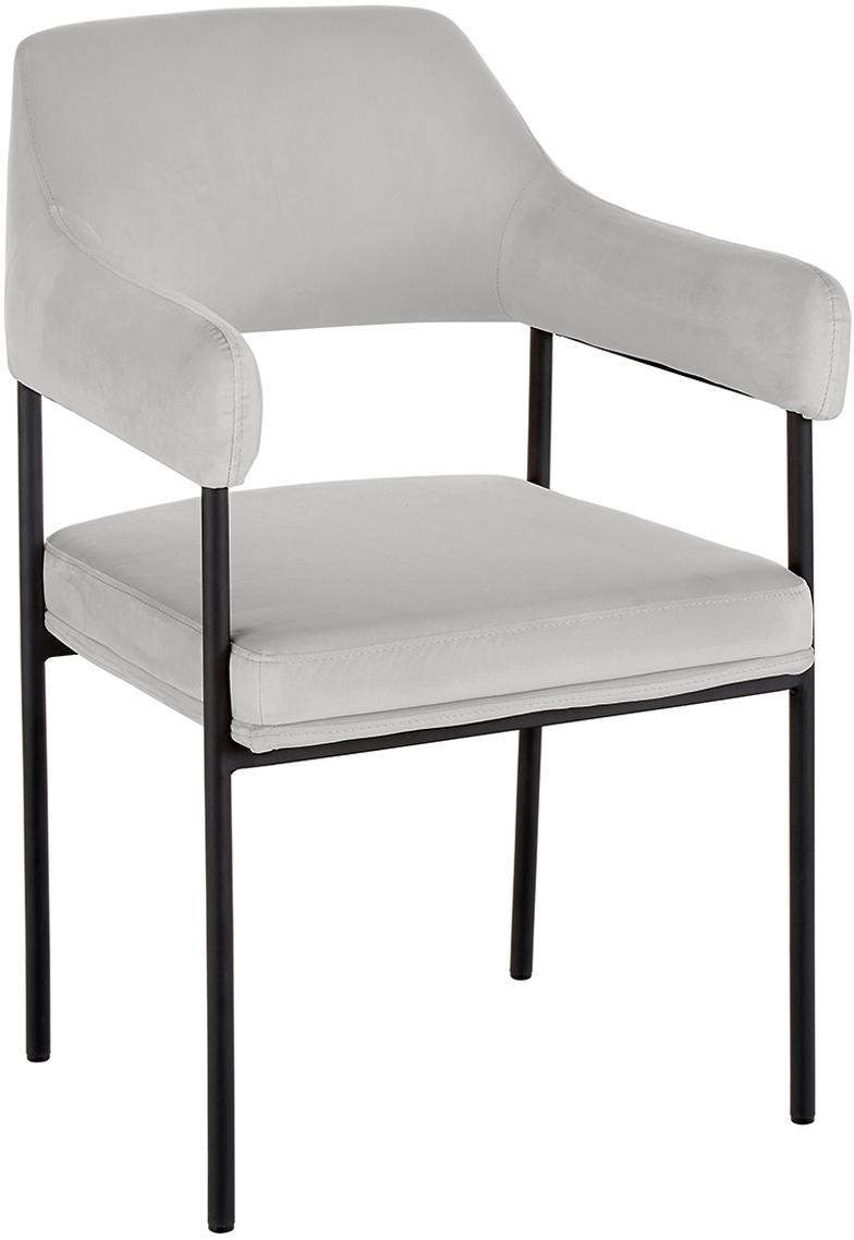 Fluwelen armstoel Zoe, Bekleding: fluweel (polyester), Frame: gepoedercoat metaal, Fluweel grijs, B 56  x D 62 cm