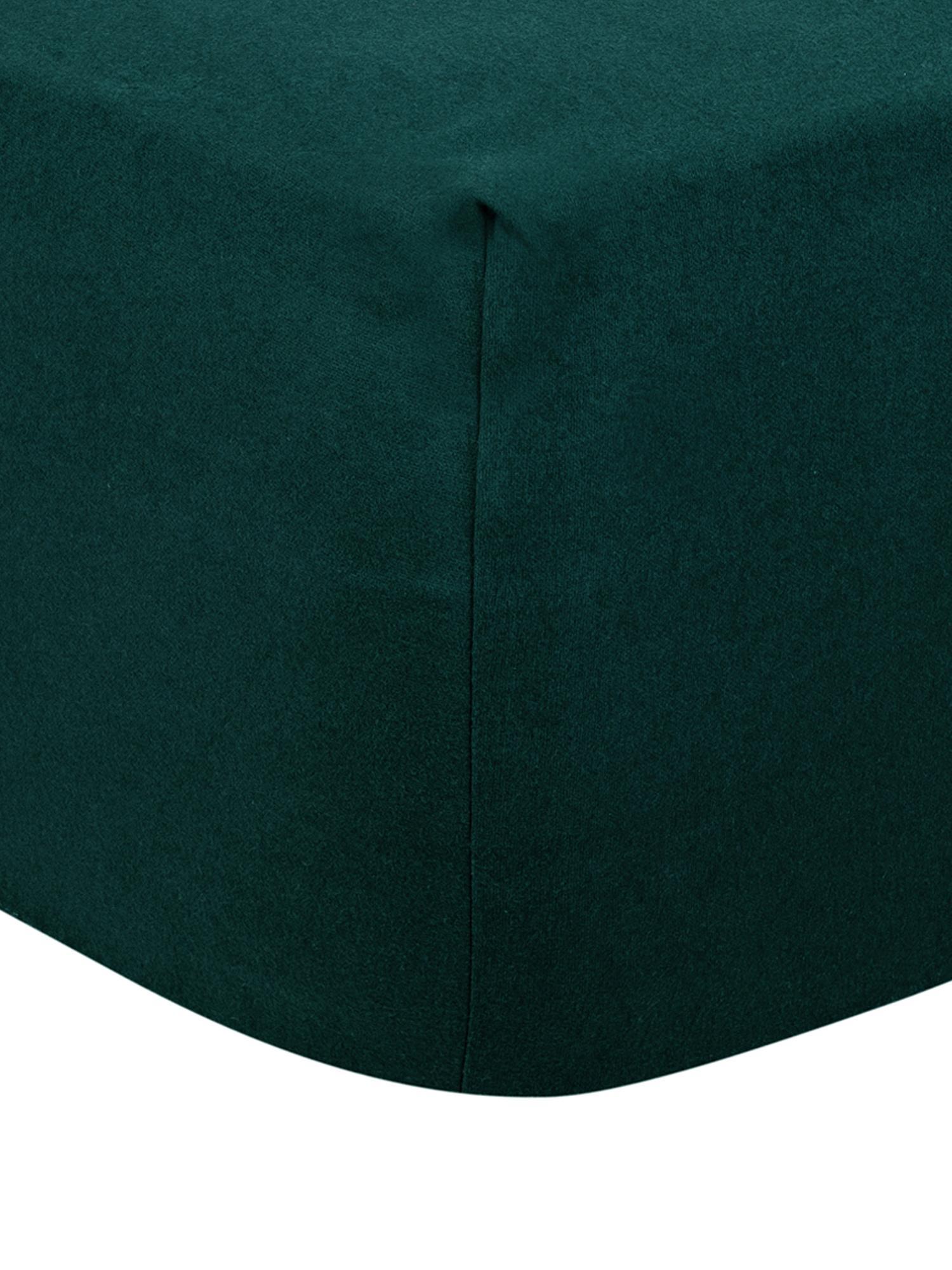 Lenzuolo con angoli in flanella Biba, Tessuto: flanella, Verde bosco, Larg. 90 x Lung. 200 cm