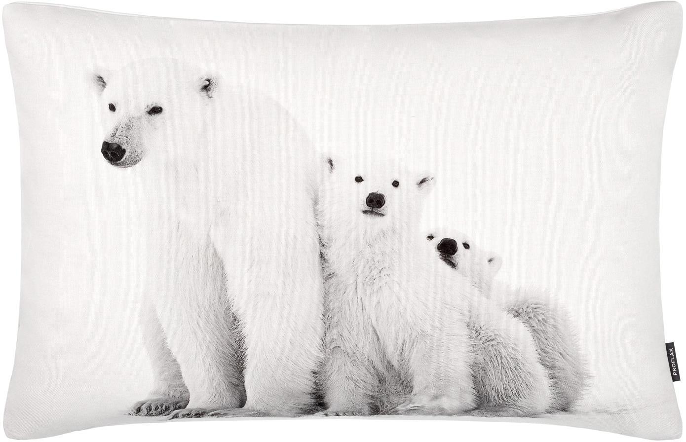 Kissenhülle Cool mit winterlichem Motiv, Baumwolle, Weiß, Grautöne, 40 x 60 cm