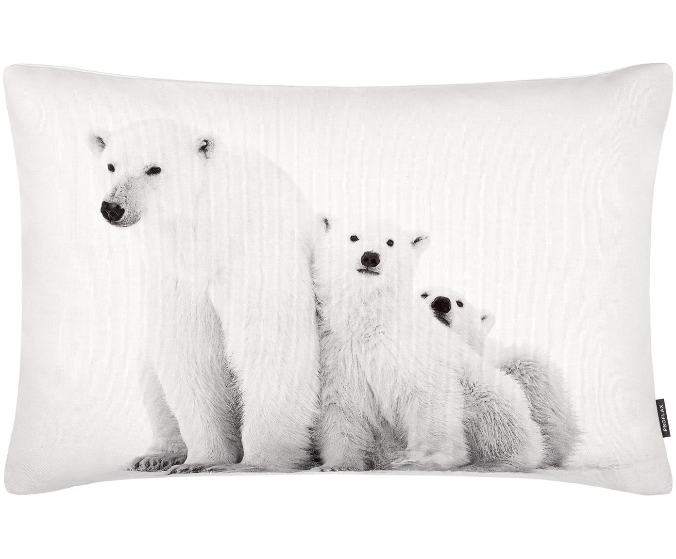 Kussenhoes Cool met winters motief, Katoen, Wit, grijstinten, 40 x 60 cm