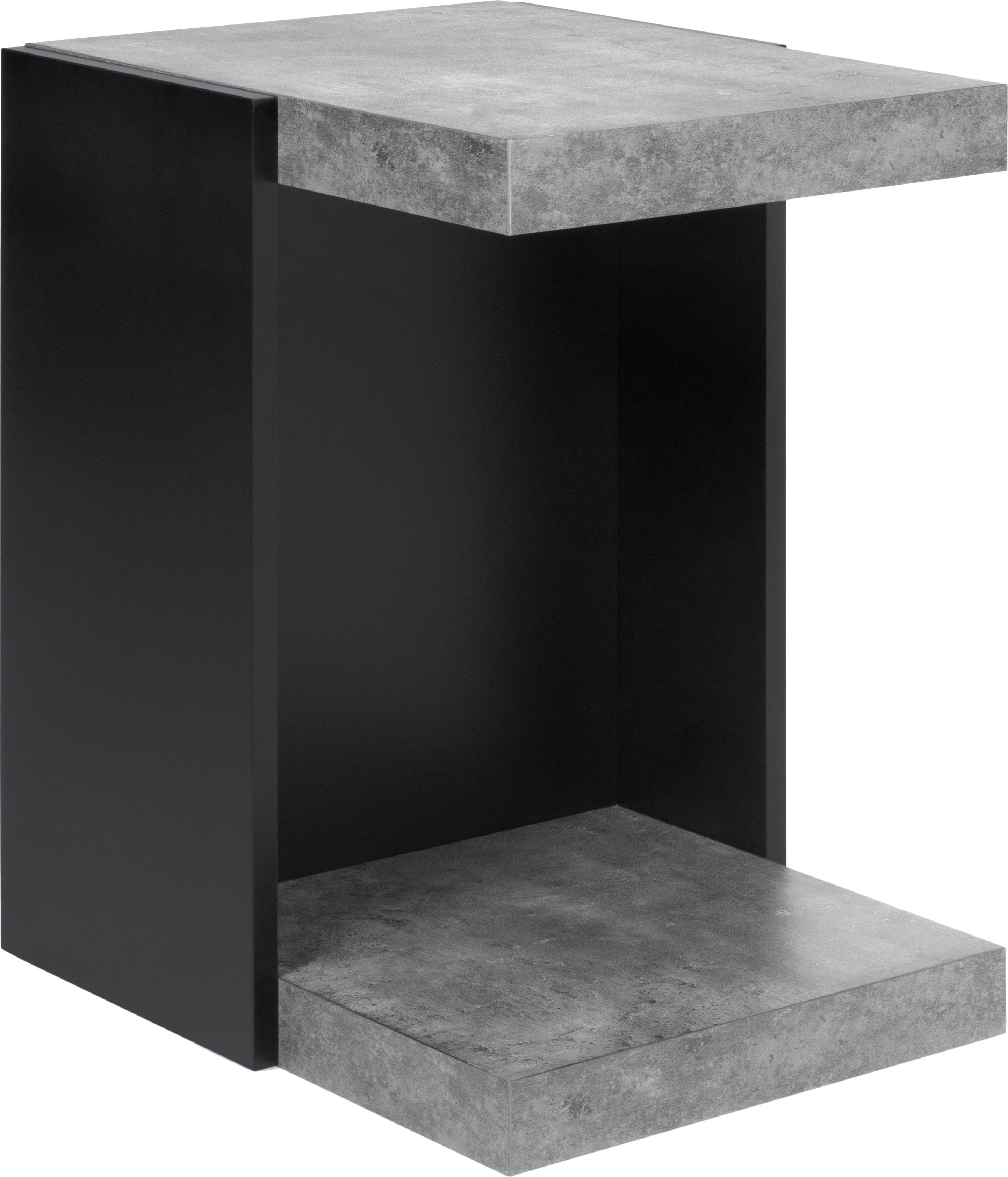 Tavolino con piani effetto cemento Klaus, Struttura: Truciolato in leggera str, Scaffali: Pannello di fibra a media, Effetto cemento, Larg. 38 x Alt. 55 cm