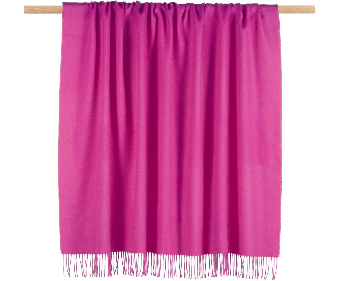 Pled z wełny z młodych alpak Luxury, Różowy, S 130 x D 200 cm
