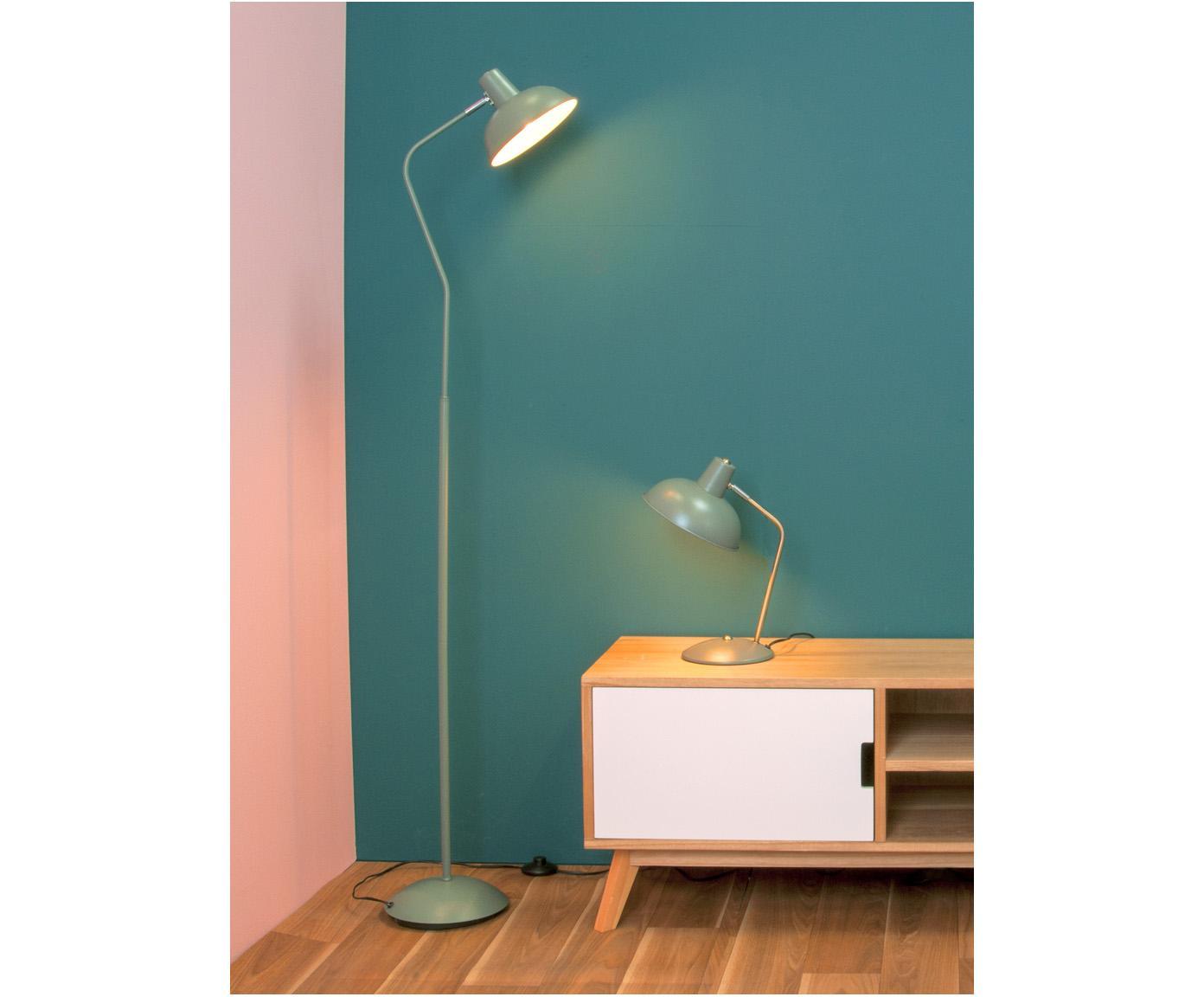 Lampada da tavolo retrò Hood, Lampada: verde, ottonato Paralume interno: bianco, Larg. 20 x Alt. 38 cm