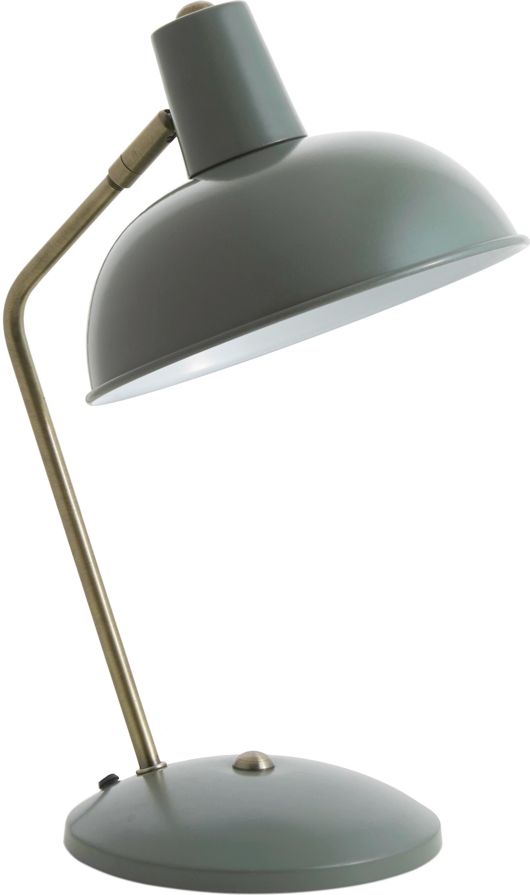 Retro tafellamp Hood, Lamp: groen, messingkleurig. Lampenkap binnenzijde: wit, 20 x 38 cm