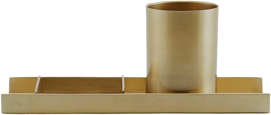 Komplet organizerów biurowych, 3elem., Metal, Odcienie złotego, S 27 x W 10 cm