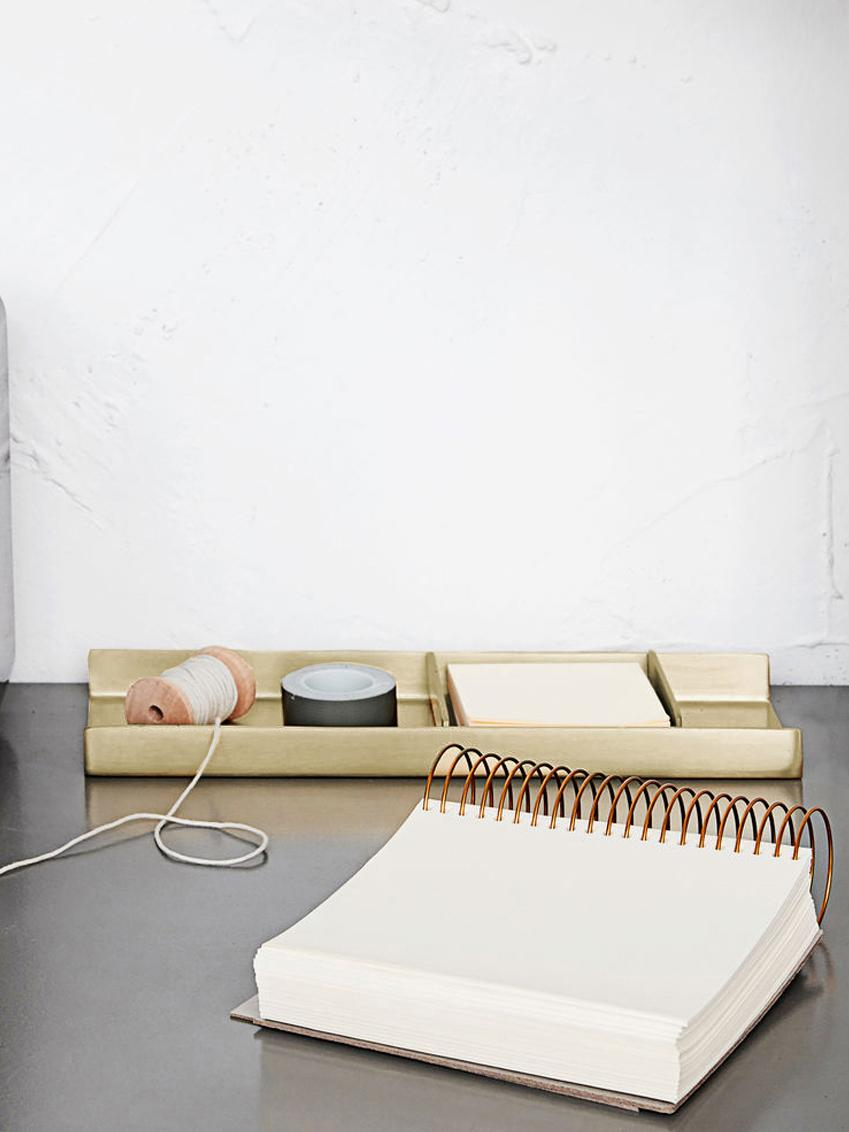 Büro-Organizer-Set Stationary, 3-tlg., Metall, Goldfarben, 27 x 10 cm