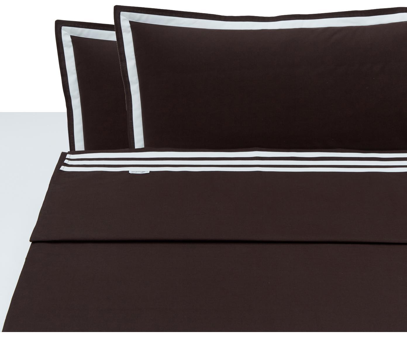 Set lenzuola in cotone Hilton, 4 pz, Cotone, Marrone, bianco, 250 x 290 cm