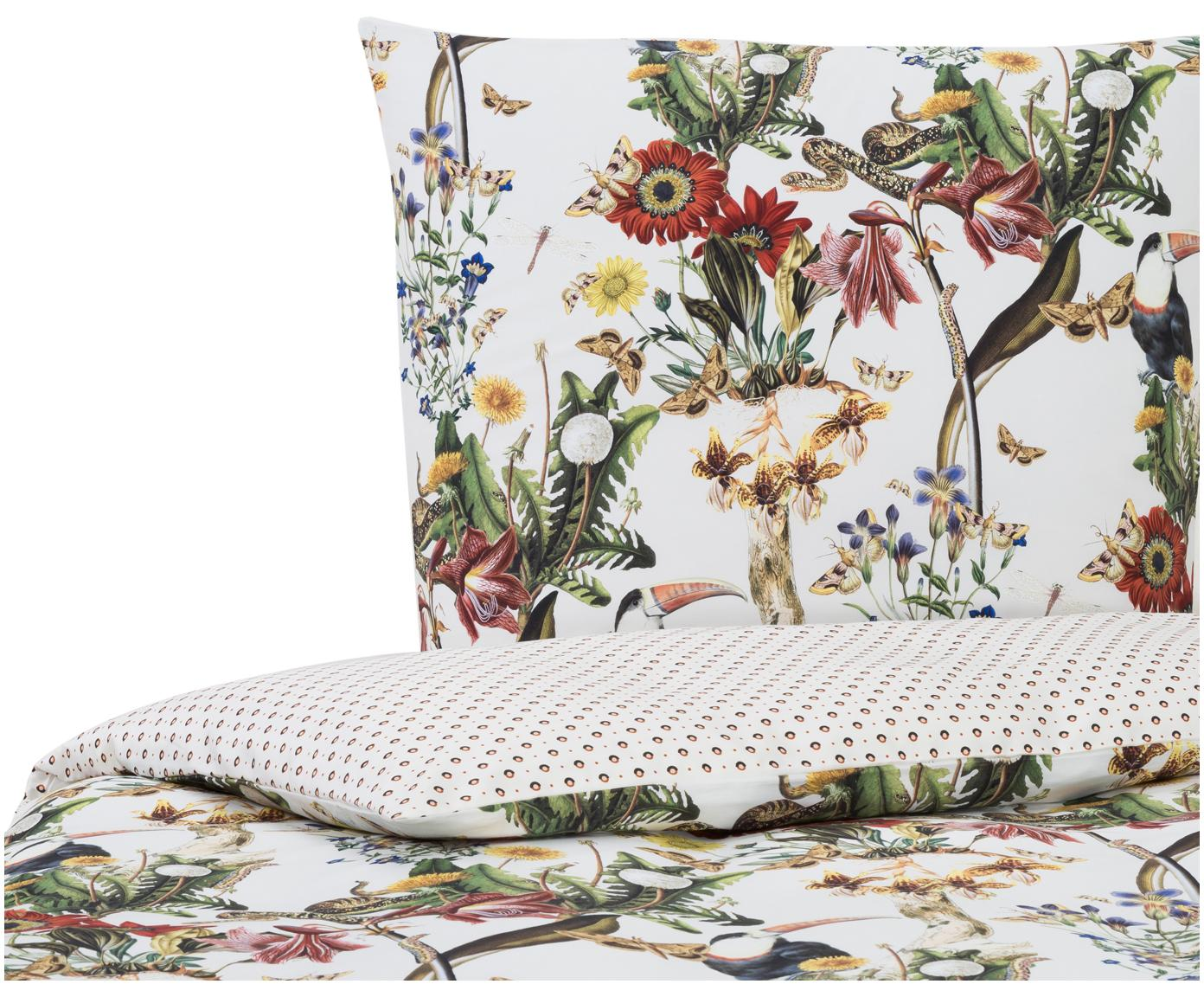 Baumwollsatin-Wendebettwäsche Airen mit Blumen-Muster, Webart: Satin Fadendichte 300 TC,, Ecru, 135 x 200 cm + 1 Kissen 80 x 80 cm