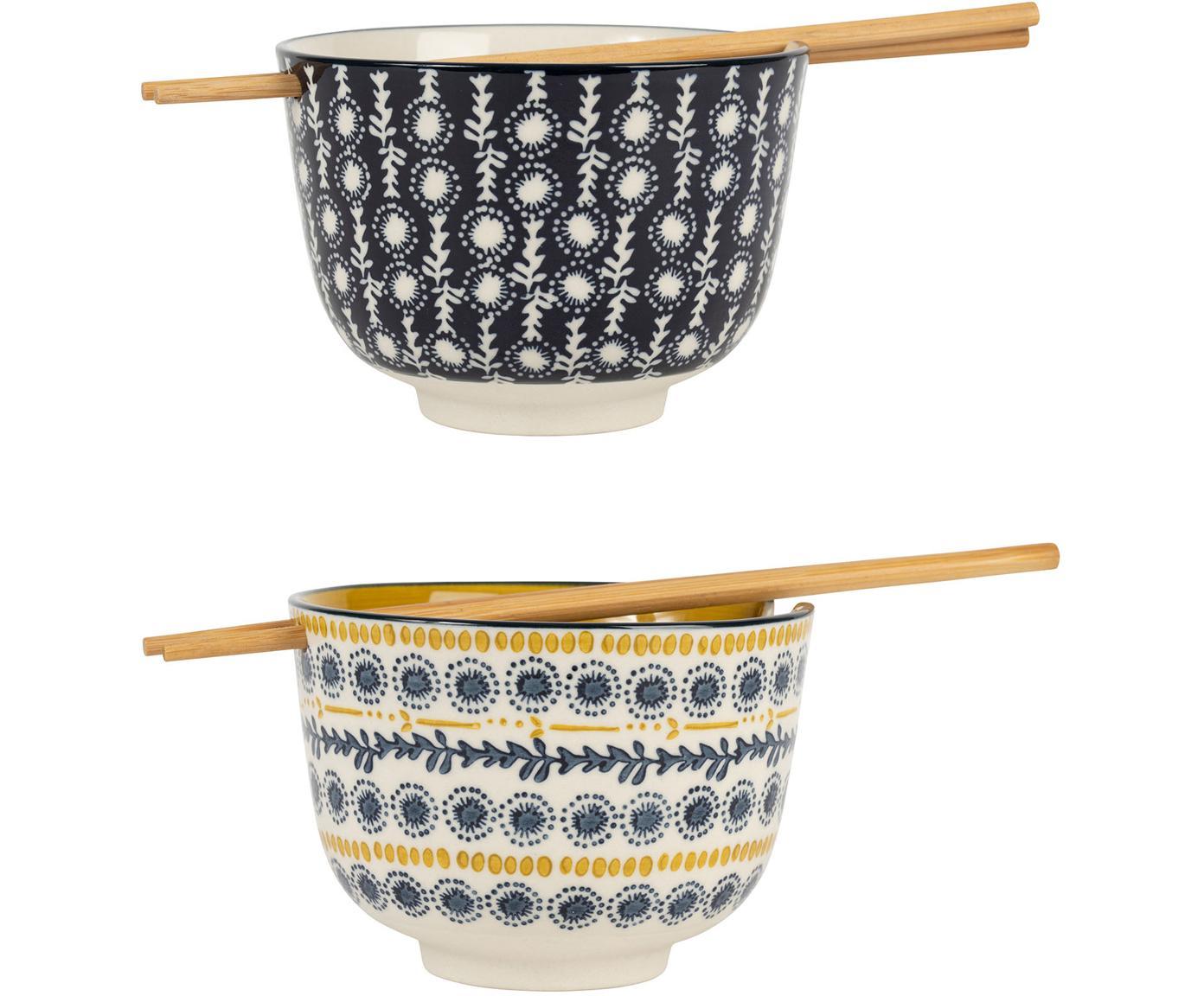Schälchen-Set Flaural mit Essstäbchen, 4-tlg, Steingut, Bambus, Blau, Senfgelb, Ø 13 x H 10 cm