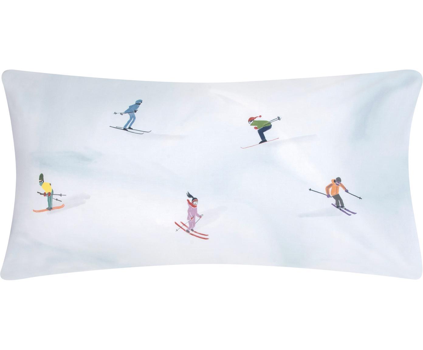 Designer Baumwollperkal-Kissenbezüge Ski von Kera Till, Webart: Perkal, Weiß, Mehrfarbig, 40 x 80 cm