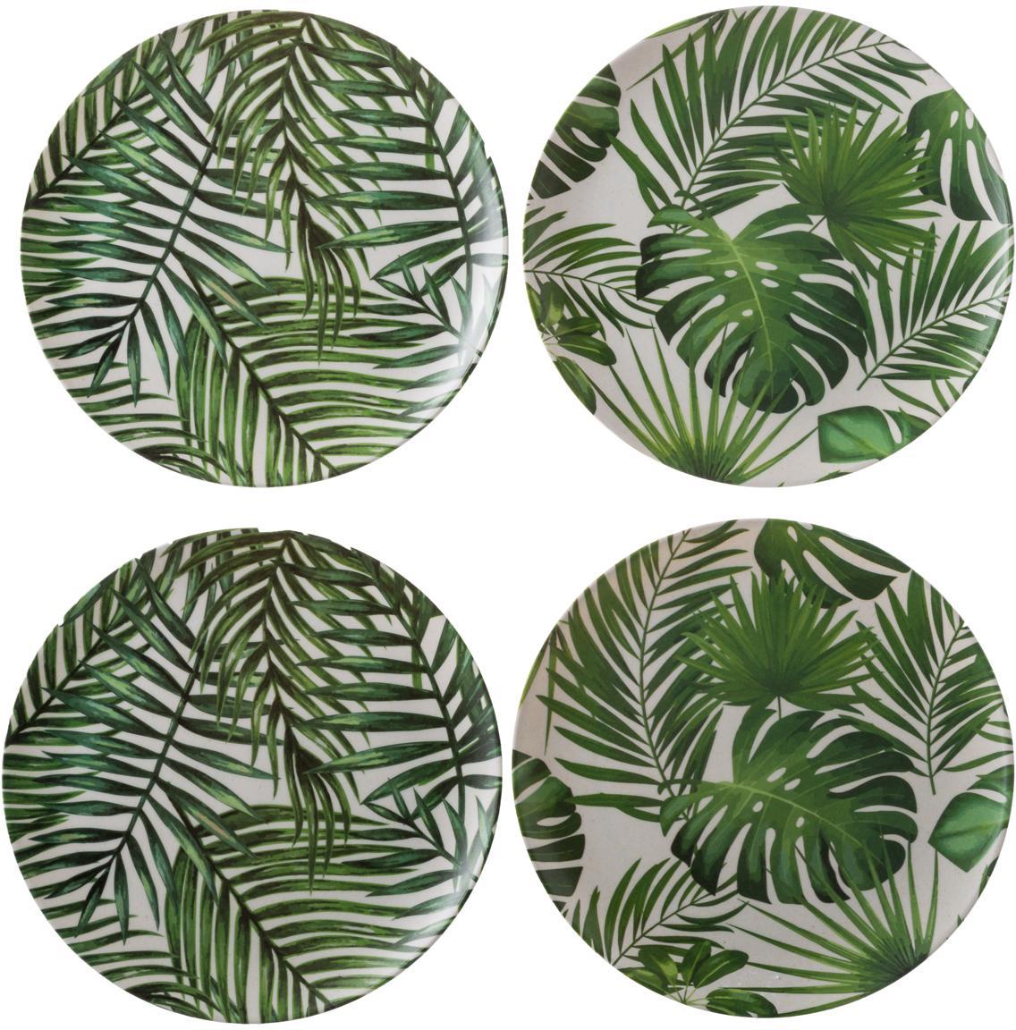 Bambus-Frühstücksteller-Set Tropical, 4-tlg., 55%Bambusfasern, 25%Maisstärke, 15%Melamin, Grüntöne, Weiß, Ø 20 cm