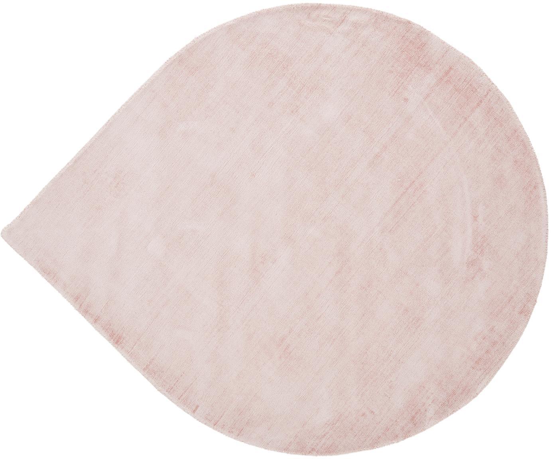 Tappeto in viscosa a forma di lacrima Jane Drop, Retro: 100% cotone, Rosa, Ø 150 cm (taglia M)