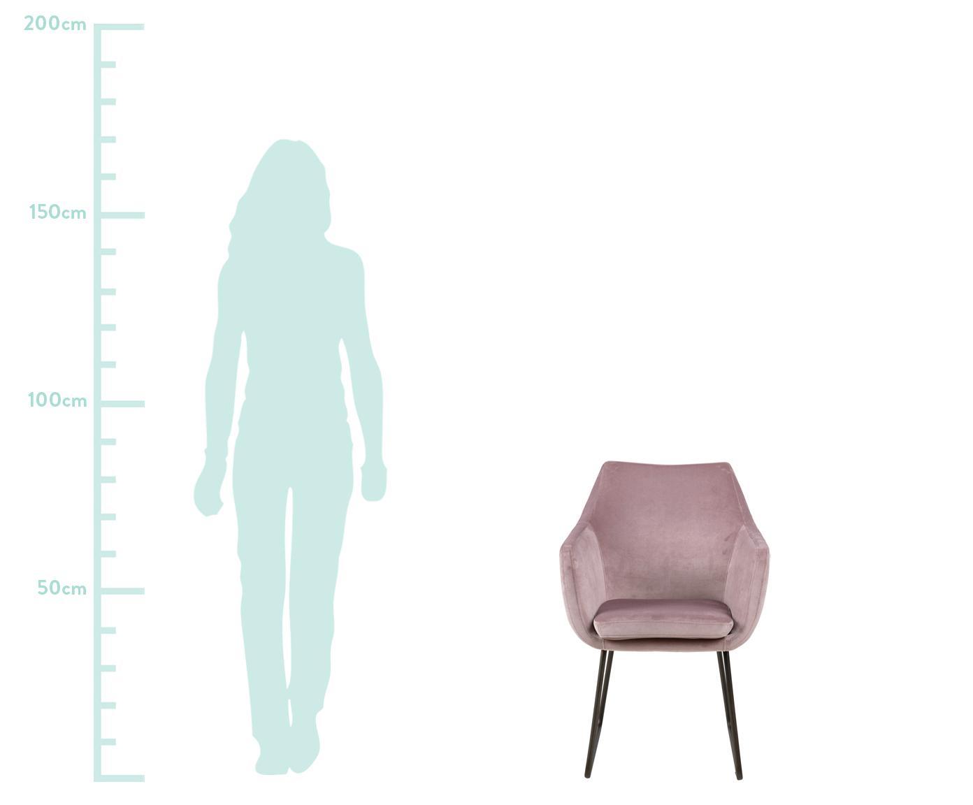 Samt-Polsterstuhl Nora mit Metallbeinen, Bezug: Polyestersamt 25.000 Sche, Beine: Metall, lackiert, Rosa, B 58 x T 58 cm