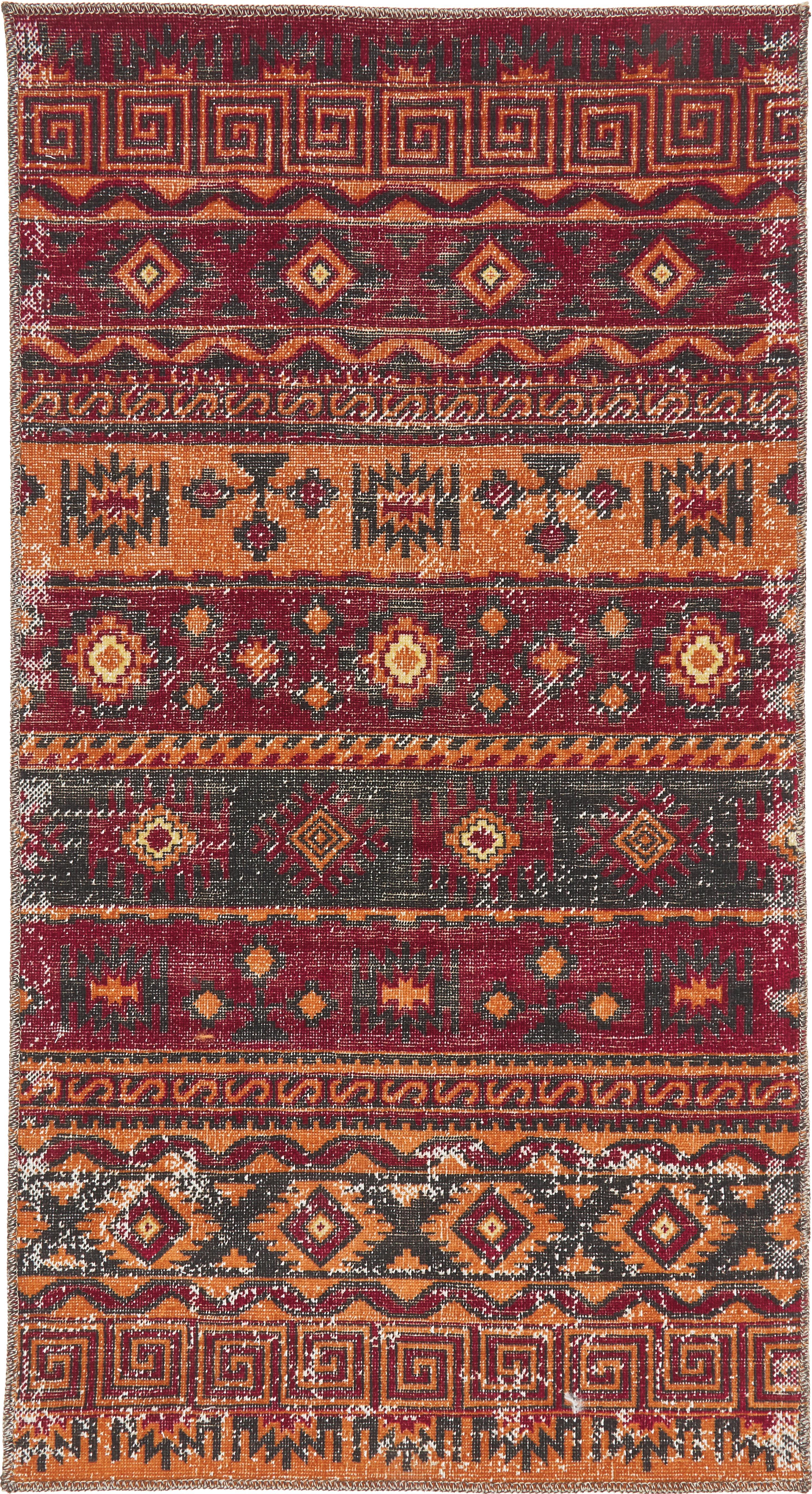 Vintage in- en outdoor vloerkleed Tilas Istanbul in donkerrood, Donkerrood, mosterdgeel, kakikleurig, B 80 x L 150 cm (maat XS)