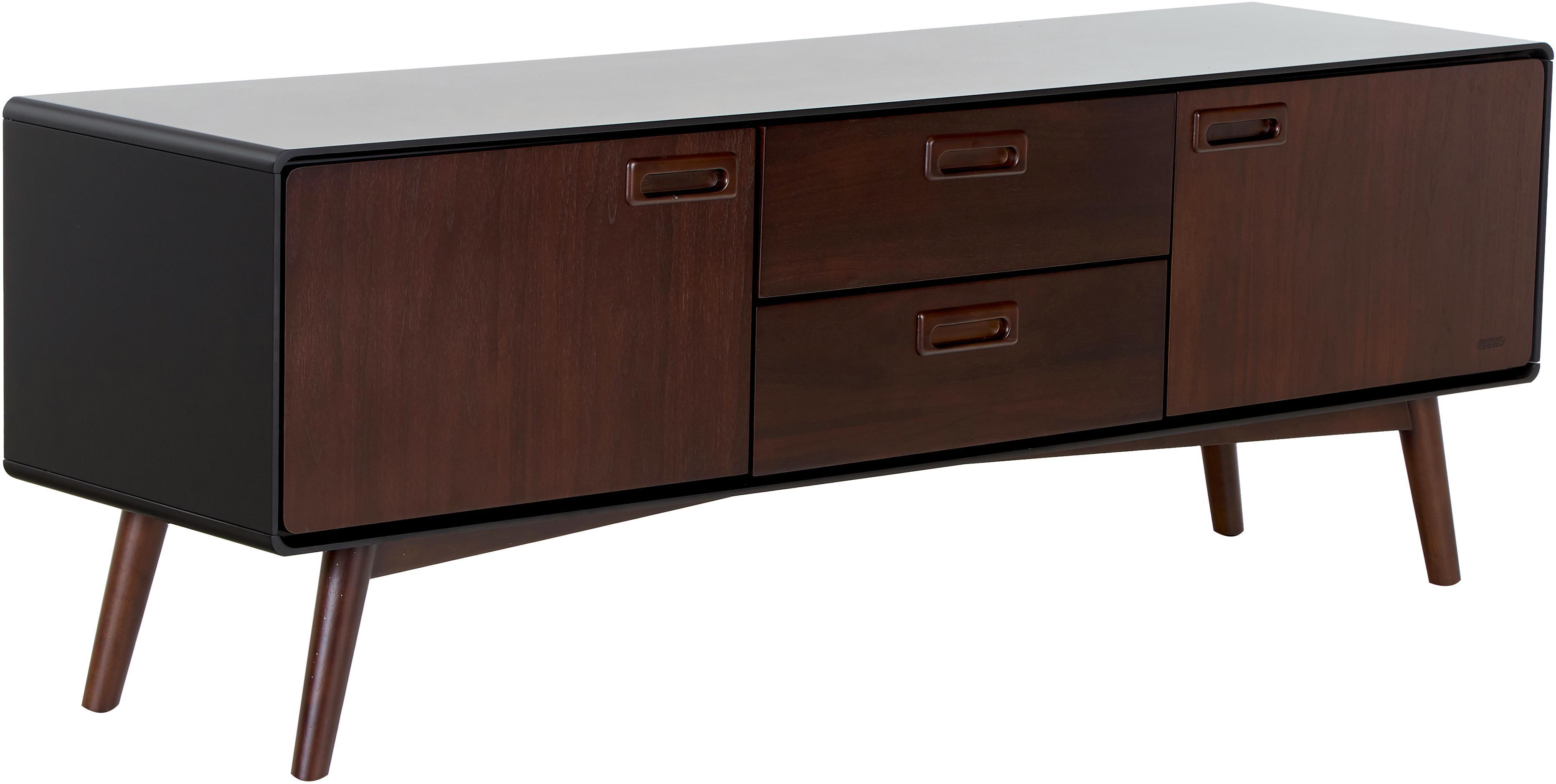 Retro Lowboard Juju mit Walnussfurnier, Füße: Eschenholz, massiv, gebei, Braun, Schwarz, 150 x 53 cm