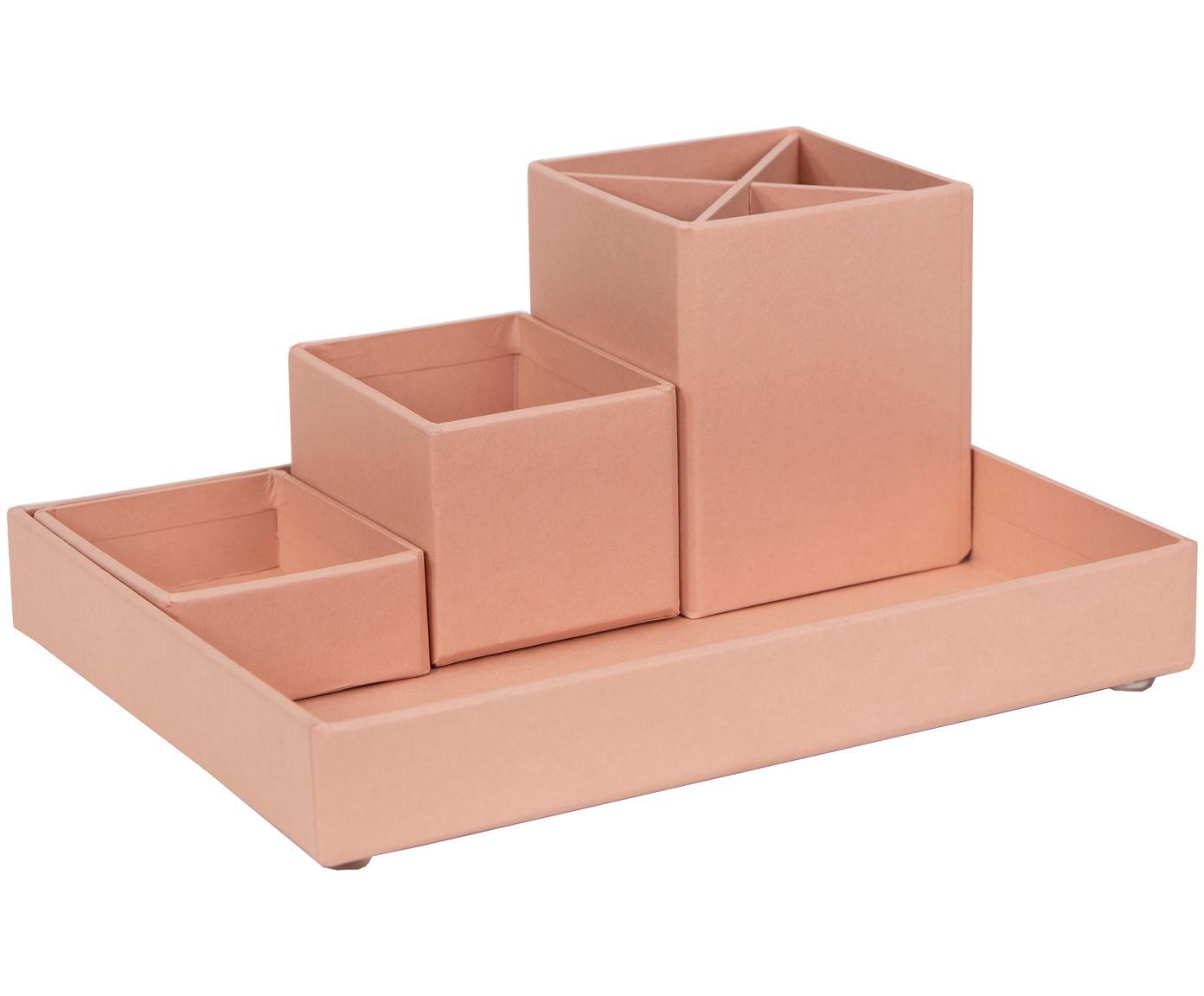 Set organizer da ufficio Lena 4 pz, Solido, cartone laminato, Rosa cipria, Diverse dimensioni