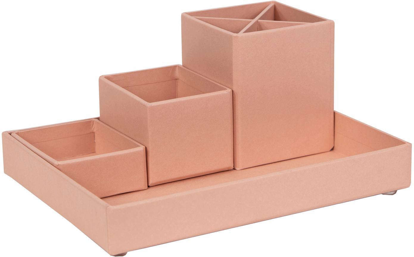 Bureau organizerset Lena, 4-delig, Massief, gelamineerd karton, Oudroze, Set met verschillende formaten