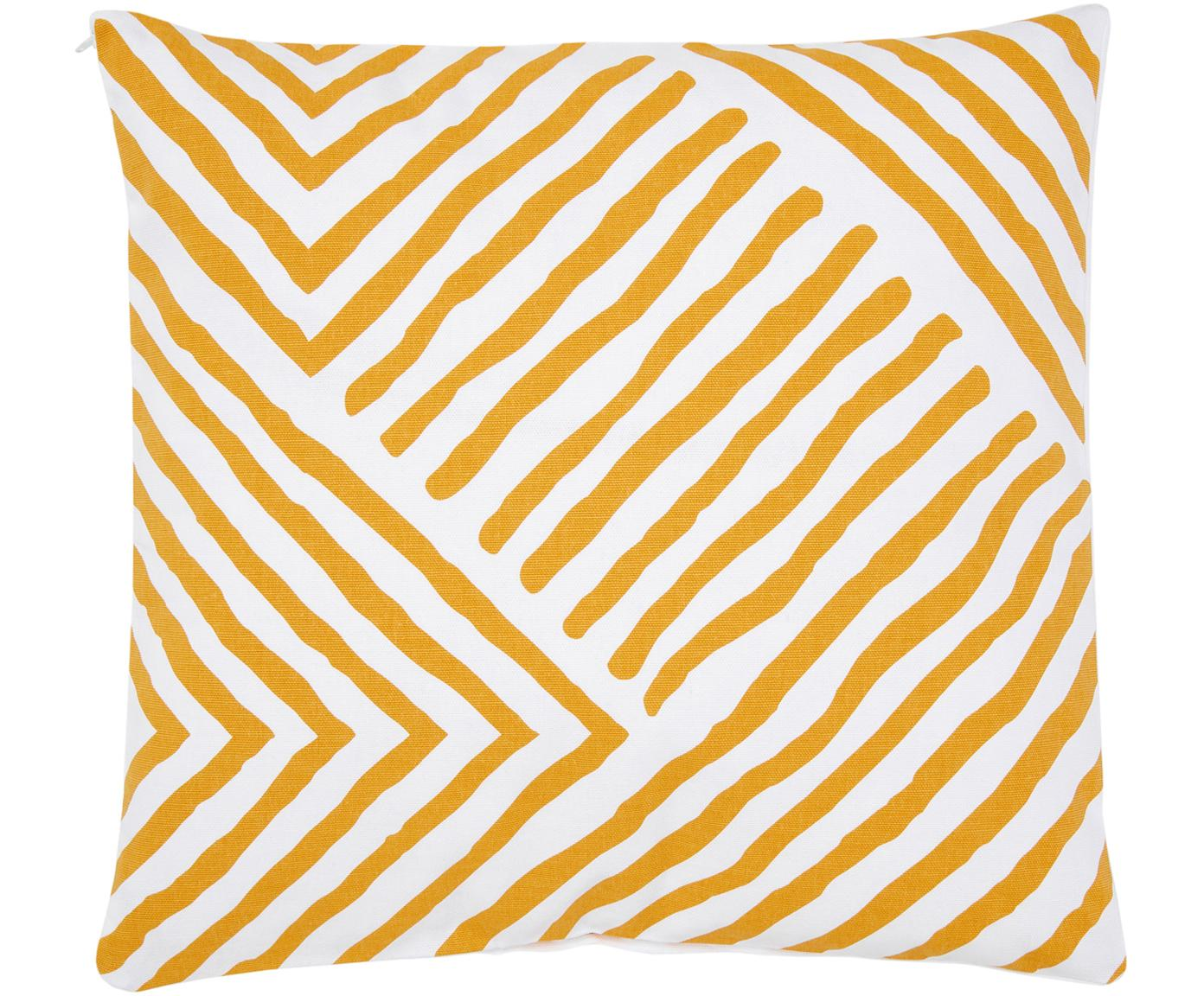 Gemusterte Kissenhülle Mia, 100% Baumwolle, Gelb-Orange, Weiss, 40 x 40 cm