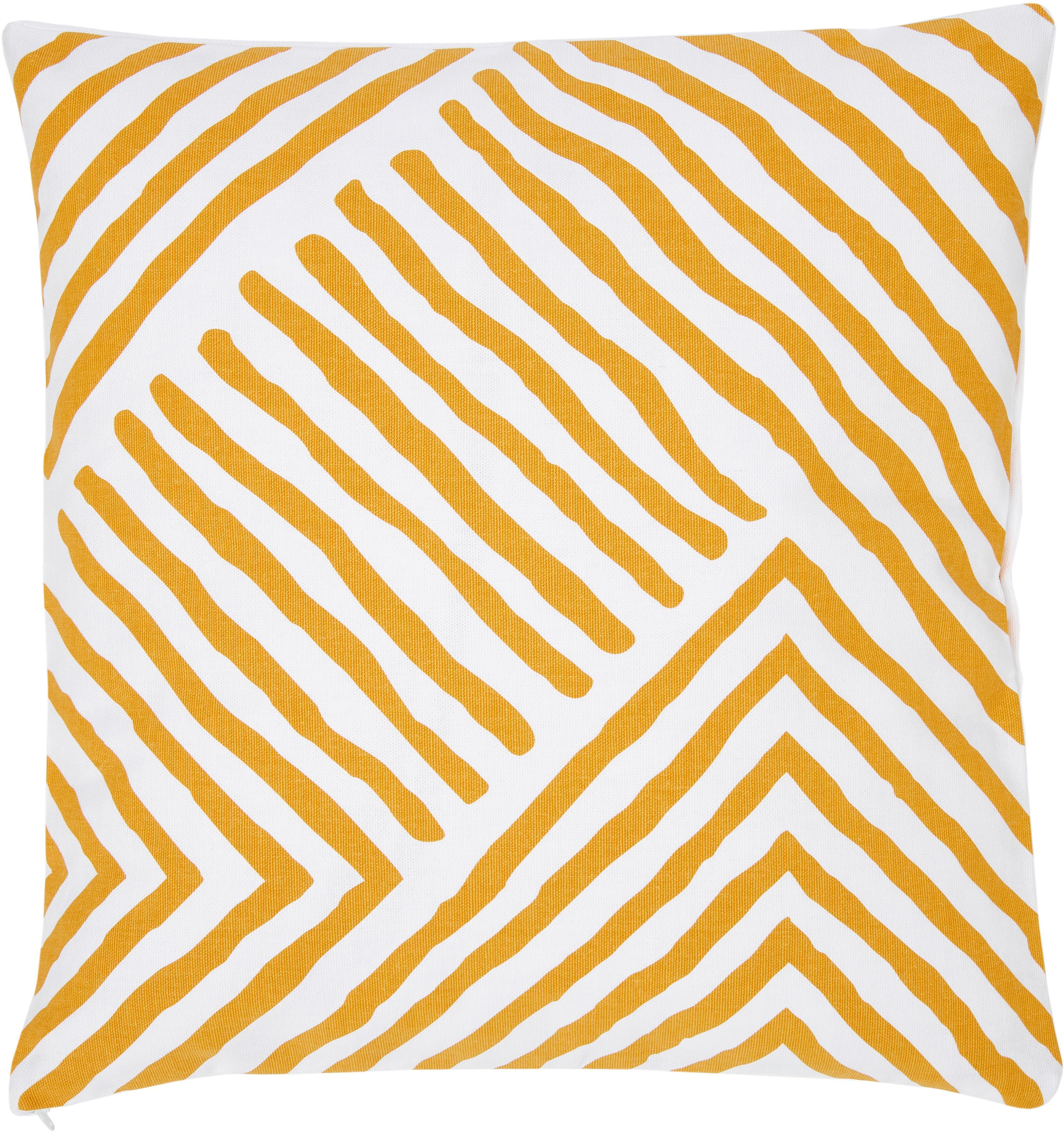 Gemusterte Kissenhülle Mia, 100% Baumwolle, Gelb-Orange, Weiß, 40 x 40 cm