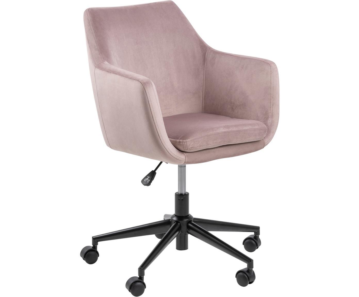 Samt-Bürodrehstuhl Nora, höhenverstellbar, Bezug: Polyester (Samt) 25.000 S, Gestell: Metall, pulverbeschichtet, Rosa, Schwarz, B 58 x T 58 cm