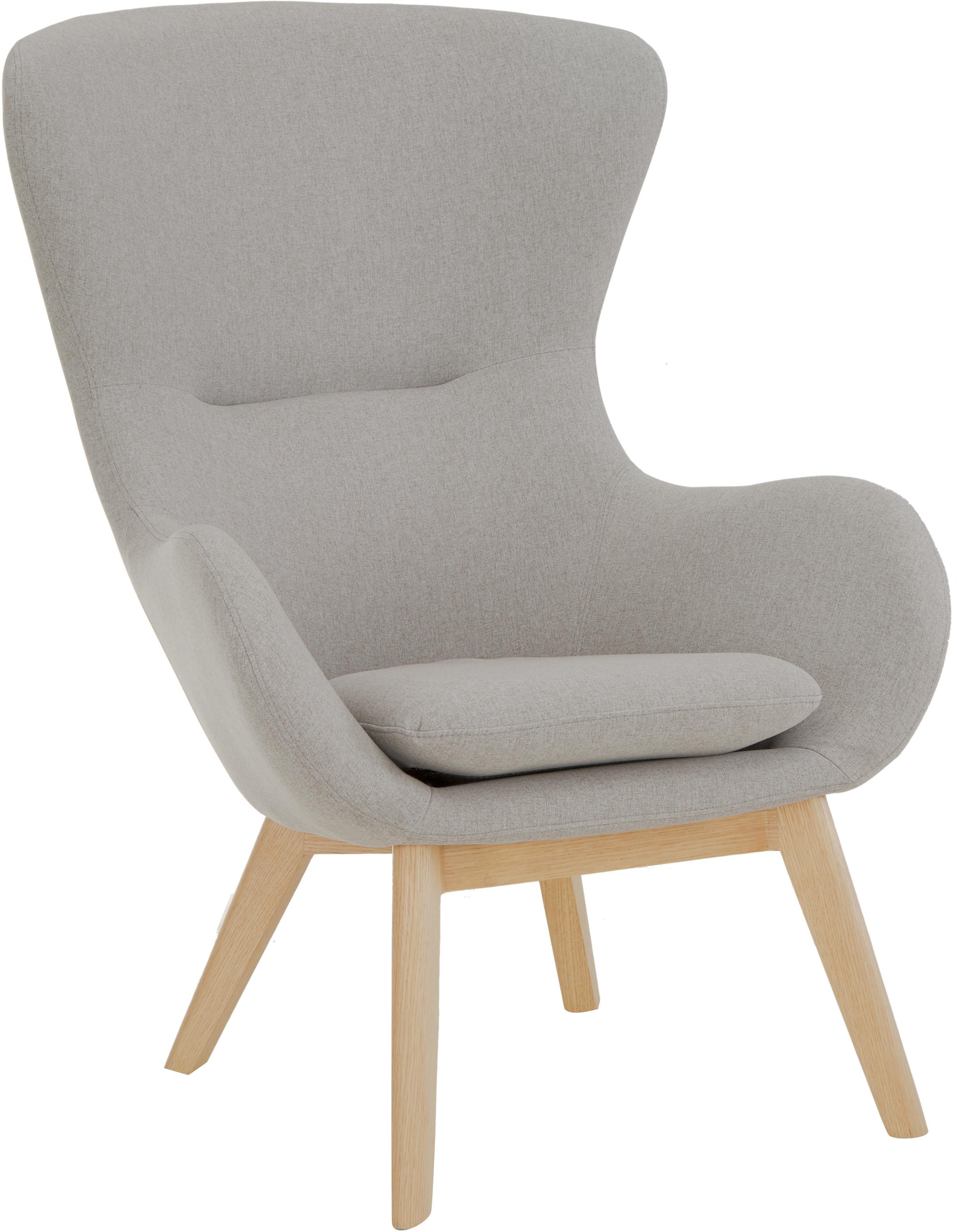 Ohrensessel Wing in Grau, Bezug: Polyester Der hochwertige, Füße: Massivholz mit Eschenfurn, Grau, B 77 x T 89 cm