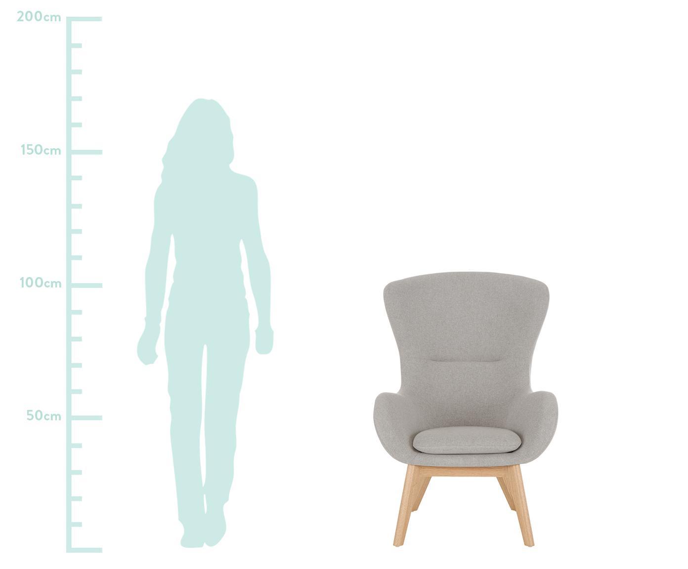 Ohrensessel Wing in Grau, Bezug: Polyester 40.000 Scheuert, Füße: Massivholz mit Eschenfurn, Grau, 77 x 106 cm