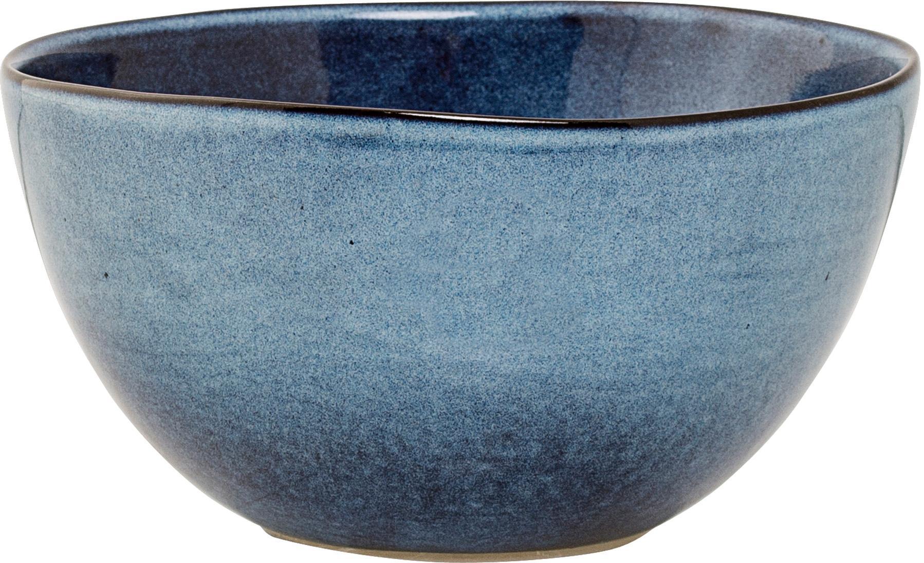 Handgemachte Schälchen Sandrine in Blau, 6 Stück, Steingut, Blautöne, Ø 15 x H 8 cm
