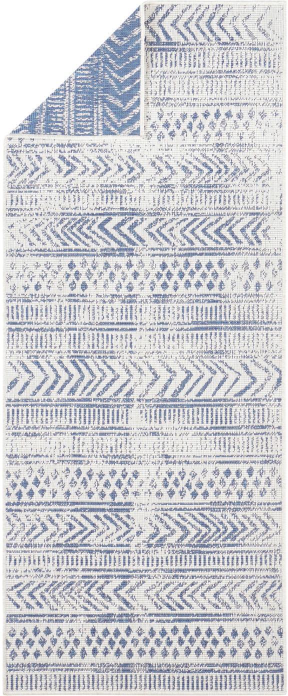Dubbelzijdige in- en outdoor loper Biri met grafisch patroon, Polypropyleen, Blauw, crèmekleurig, 80 x 350 cm